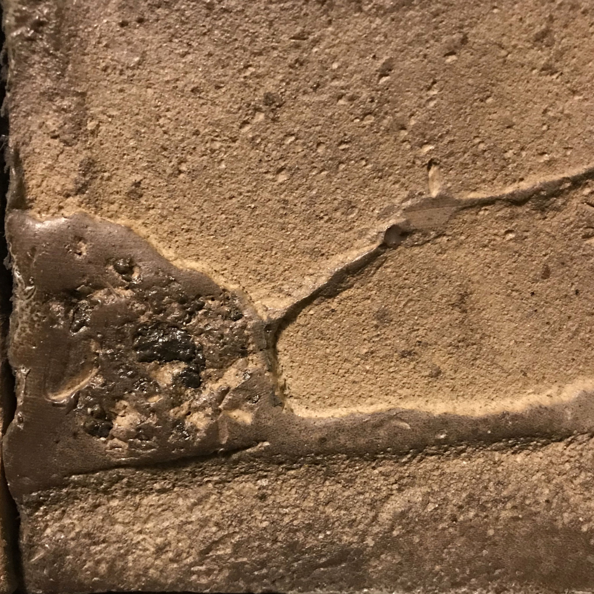 Variant-tile detail.  Wood fired stoneware w/natural ash glaze.