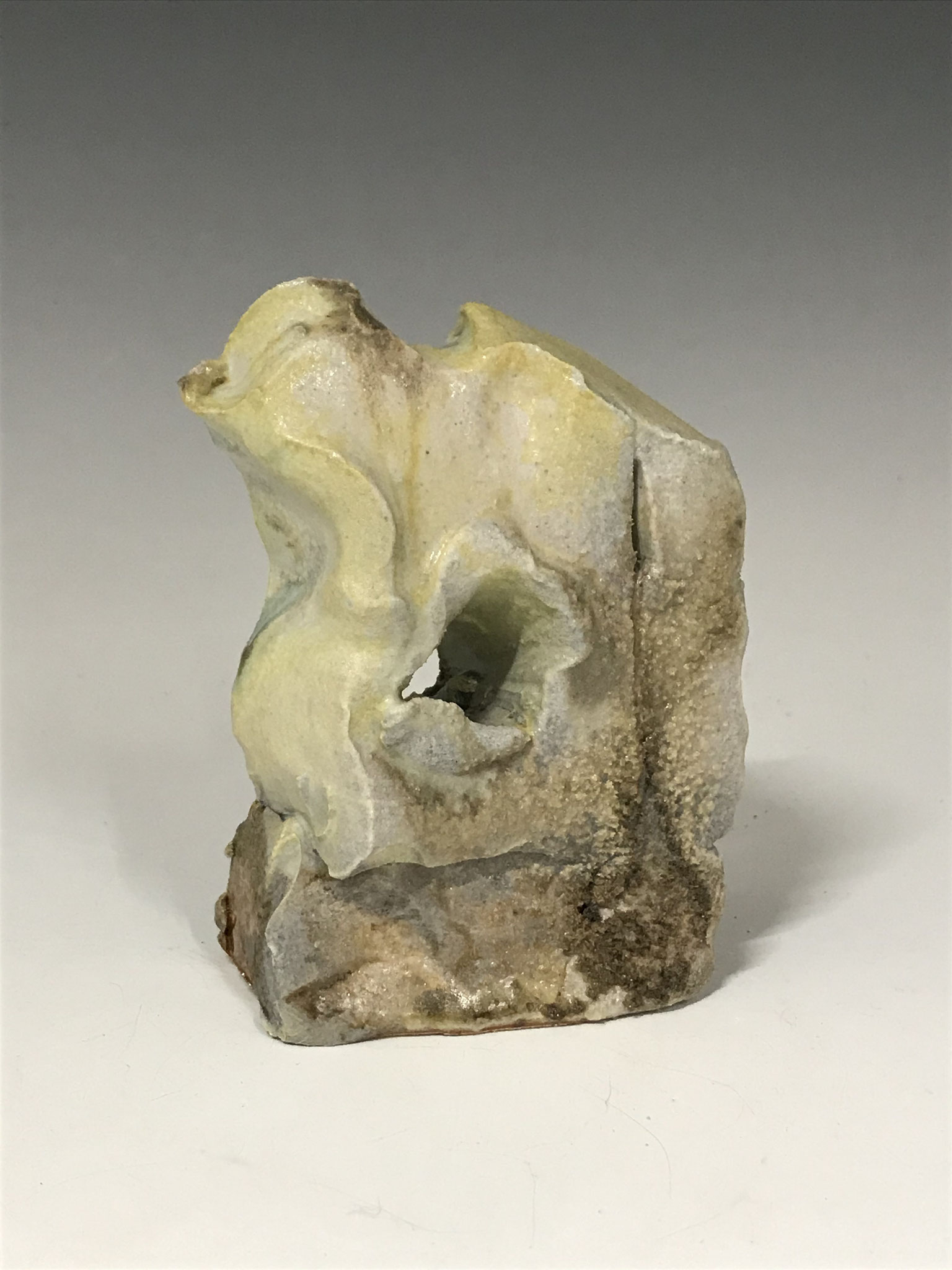 "Lil' wave, 4.25"" x 3"" x 1.5"".  Double wood fired stoneware w/natural ash & ipanema glaze."