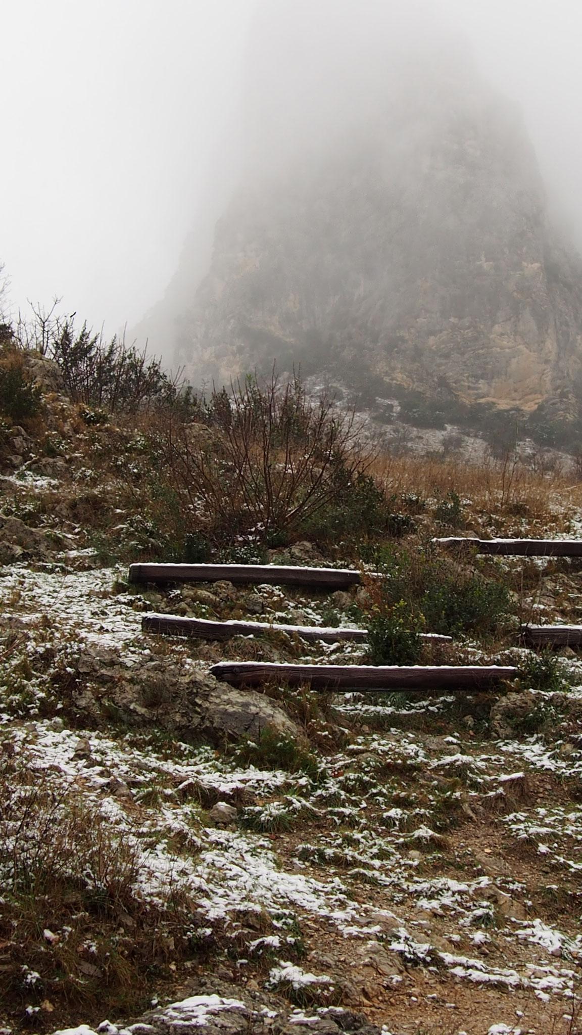 L'esapce scénique du château sous la neige