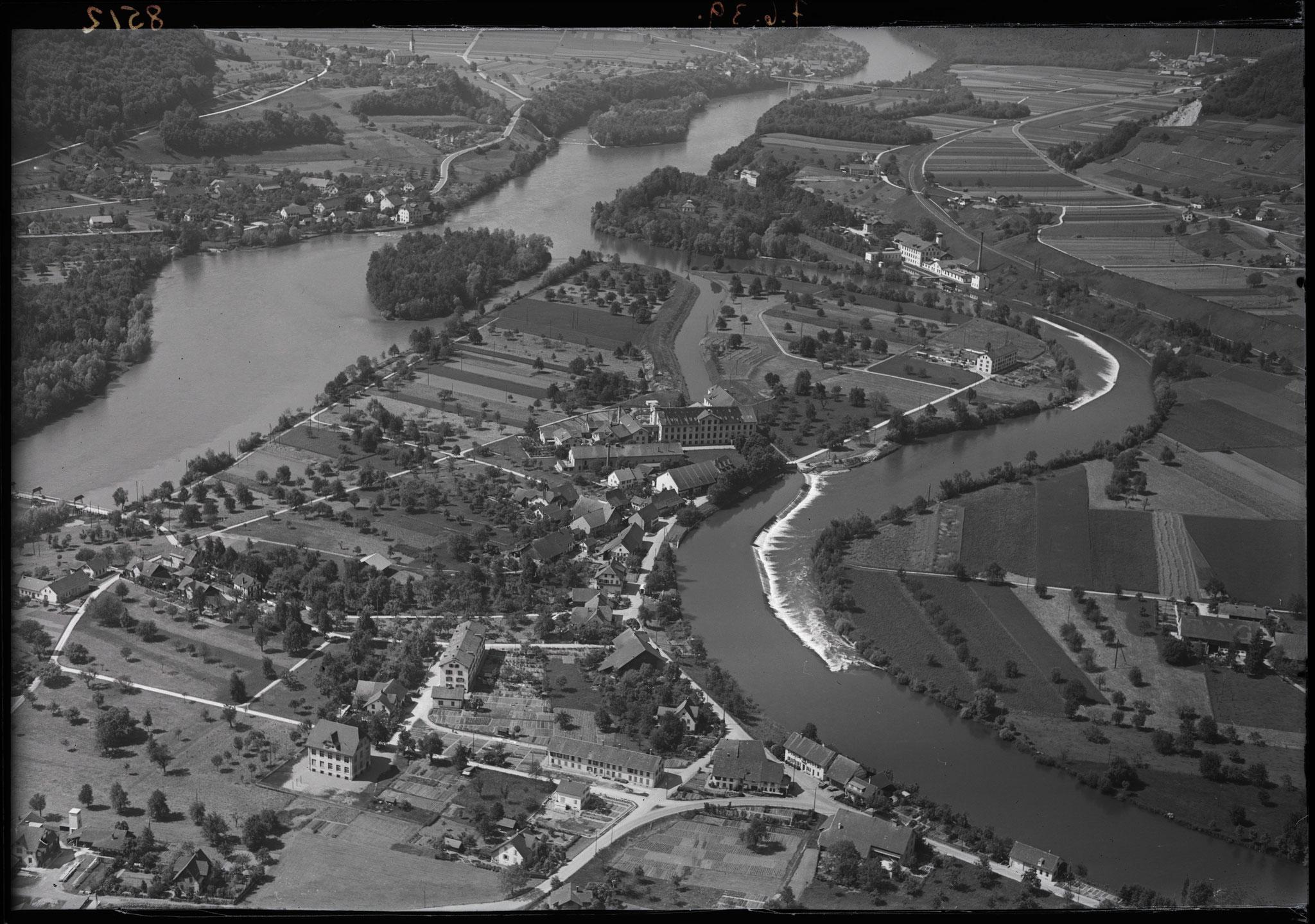 1923 - unten Vogelsang, Mitte Lauffohr, oben Rein, Villigen (Quelle: luftbilder-der-schweiz.ch)