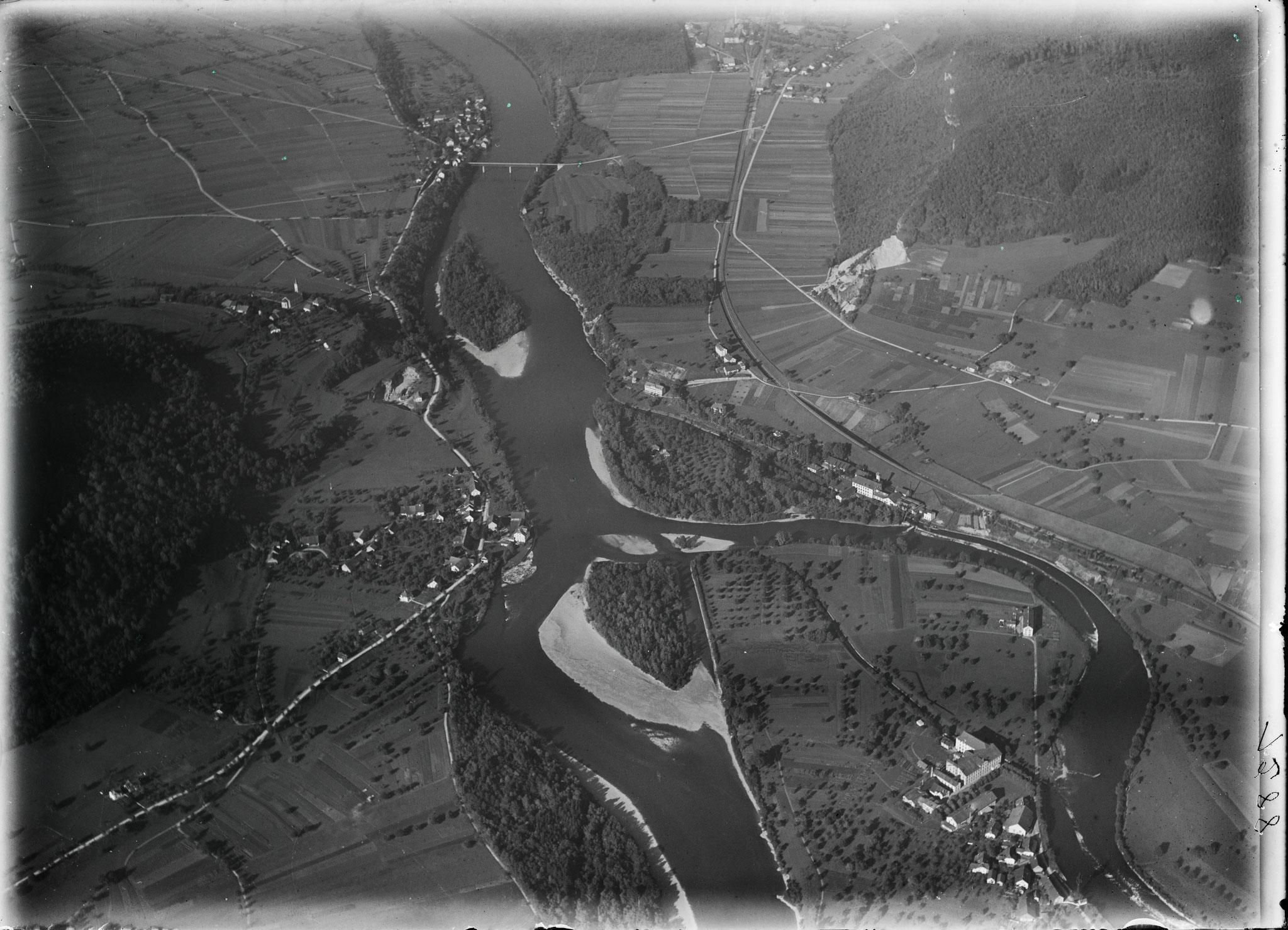 1919 - Lauffohr, Vogelsang, Rein, Stilli (Quelle: luftbilder-der-schweiz.ch)