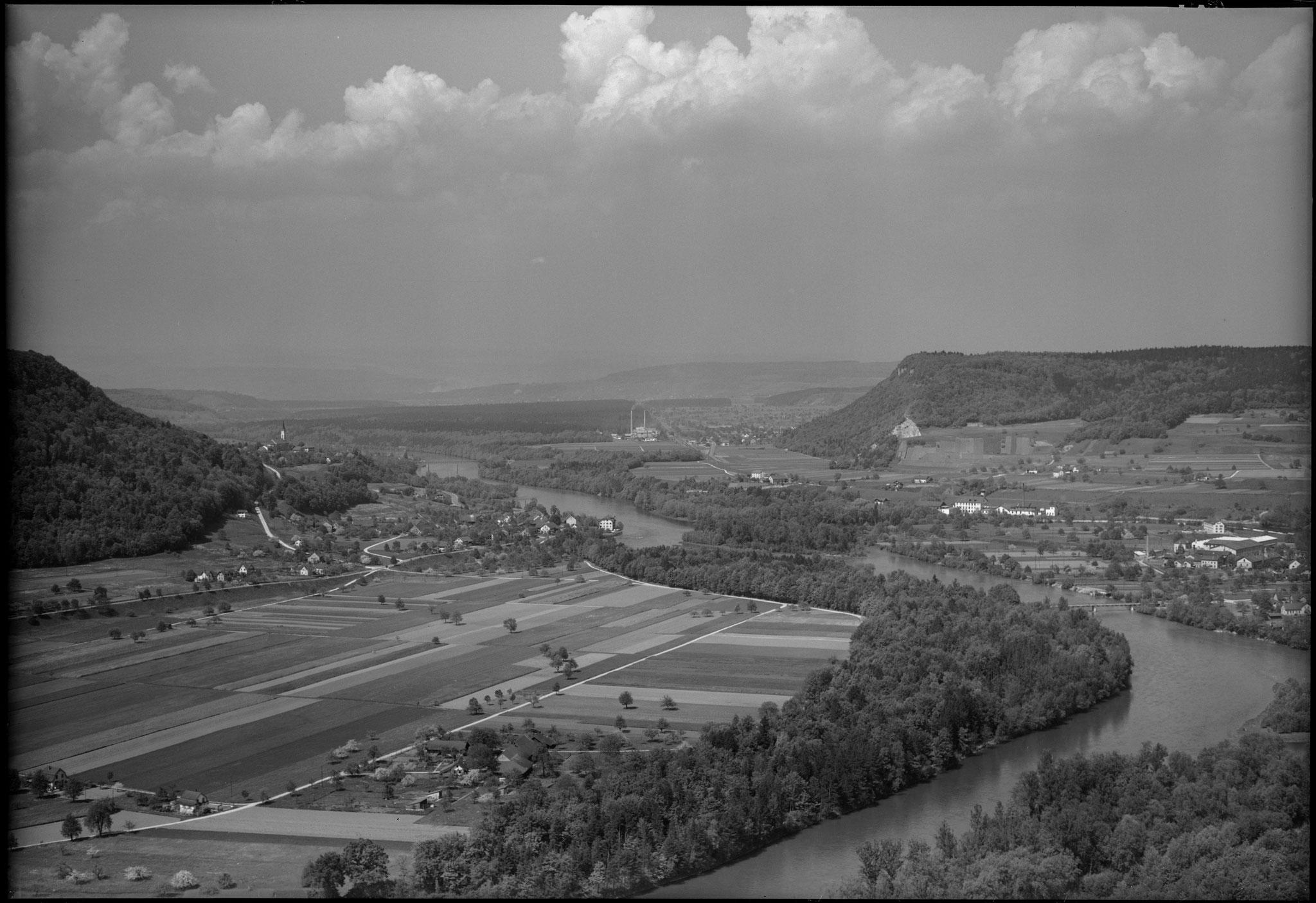 1950 - links Lauffohr, Rein, rechts Vogelsang (Quelle: luftbilder-der-schweiz.ch)