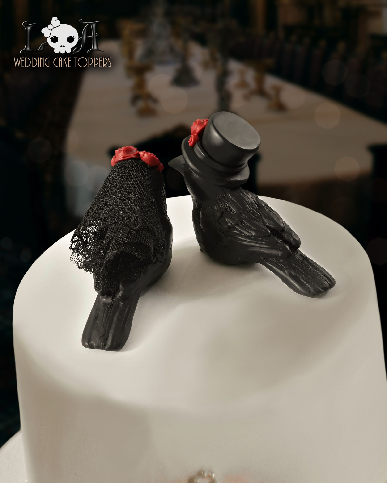 Gothic Raven Wedding Cake Toppers