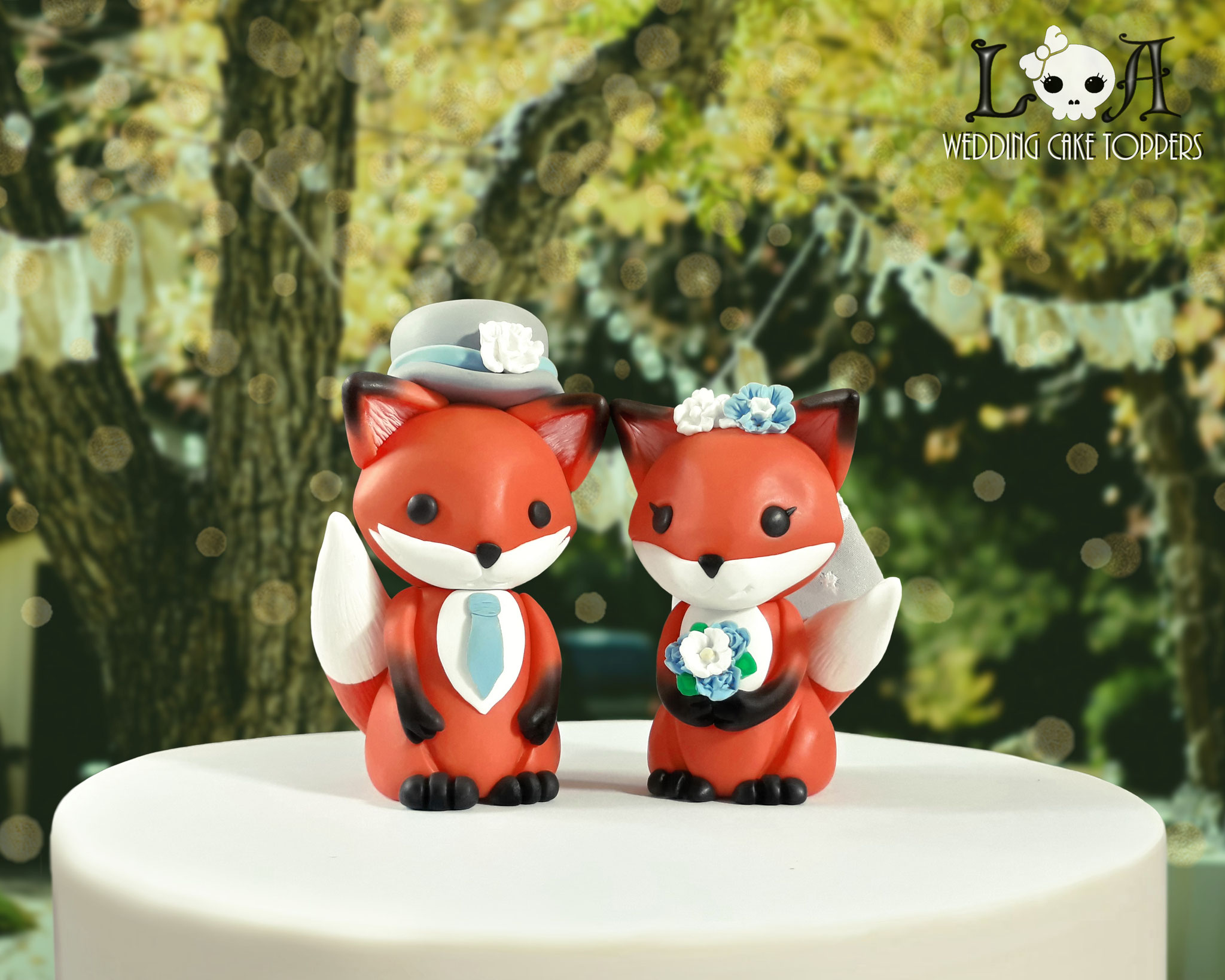 Kawaii Fox Wedding Cake Toppers