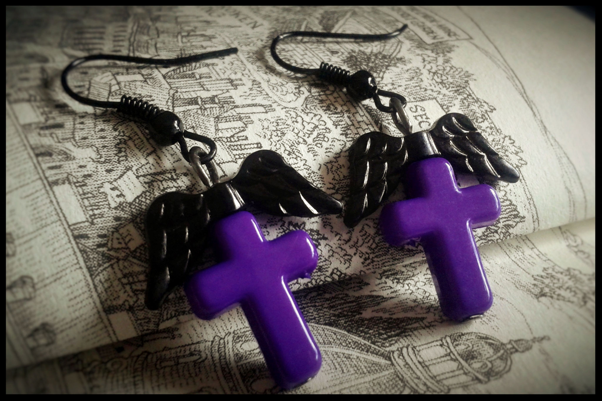 Purple Cross Earrings with Black Wings