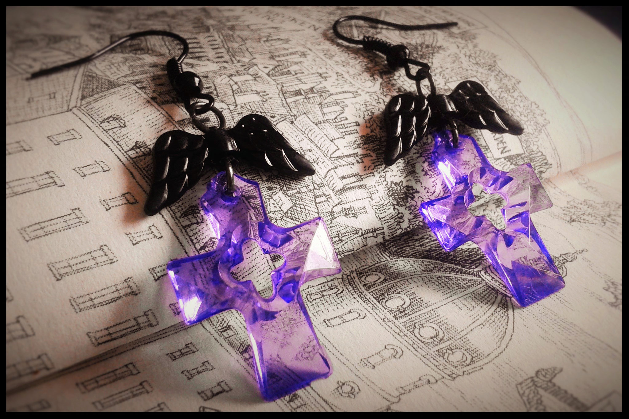 Dark Translucent Purple Cross Earrings with Black Wings