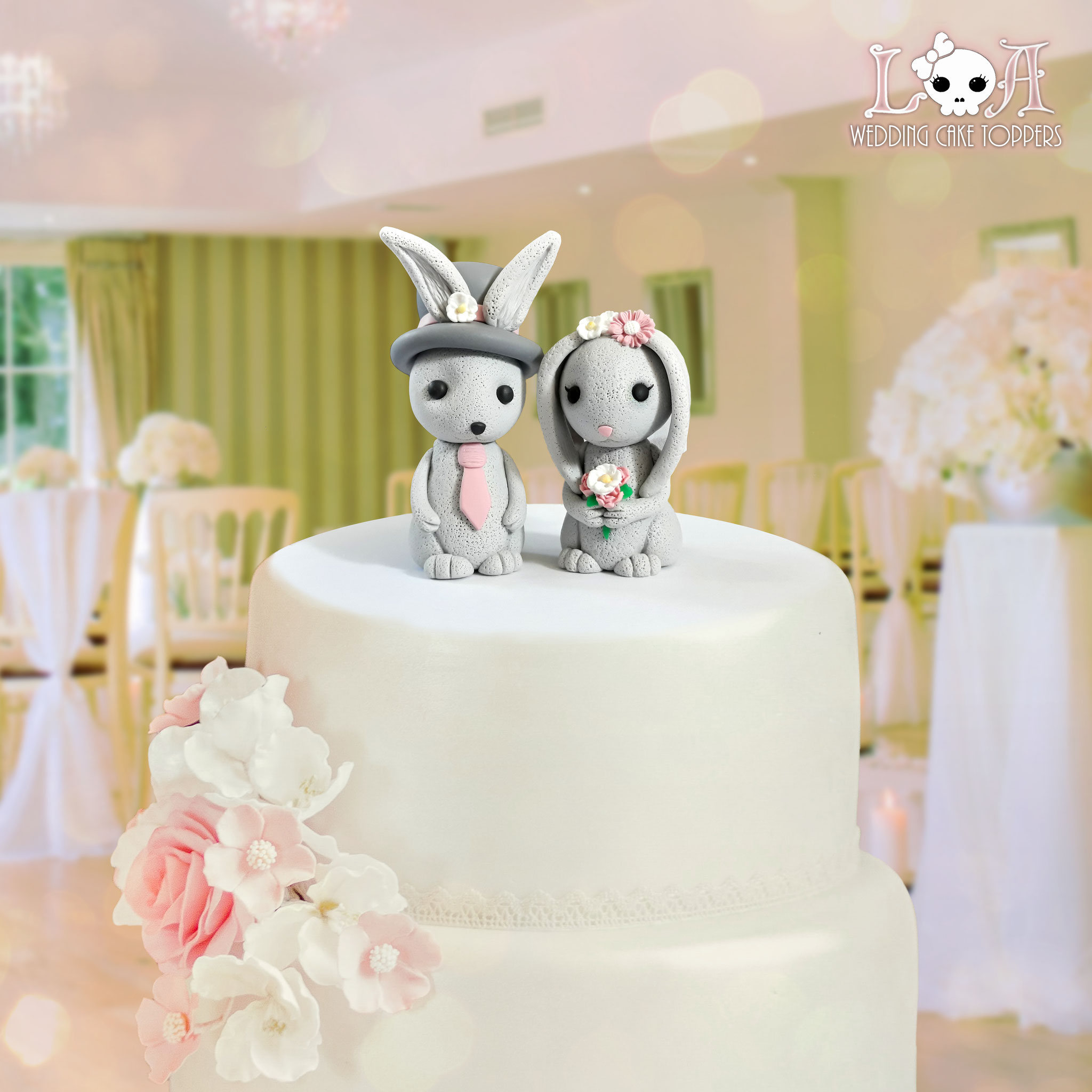 Kawaii Bunny Rabbit Wedding Cake Toppers