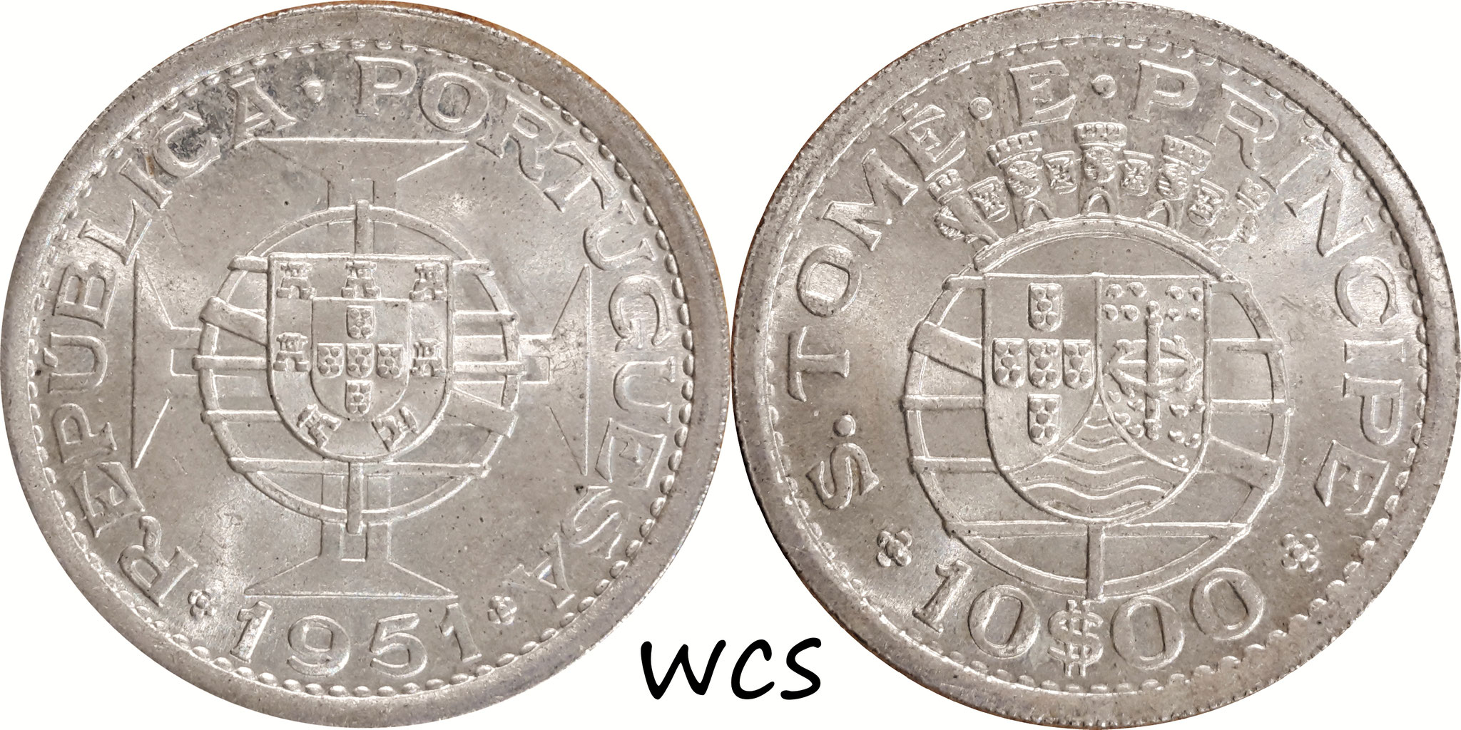 Sao Tome and Príncipe 10 Escudos 1951
