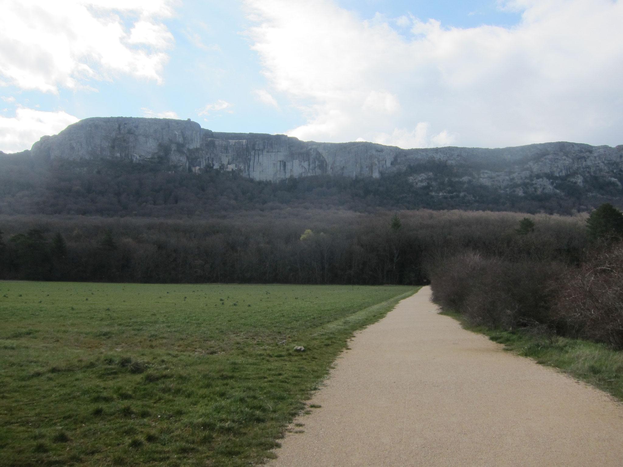 この道の先に洞窟への登山道があります