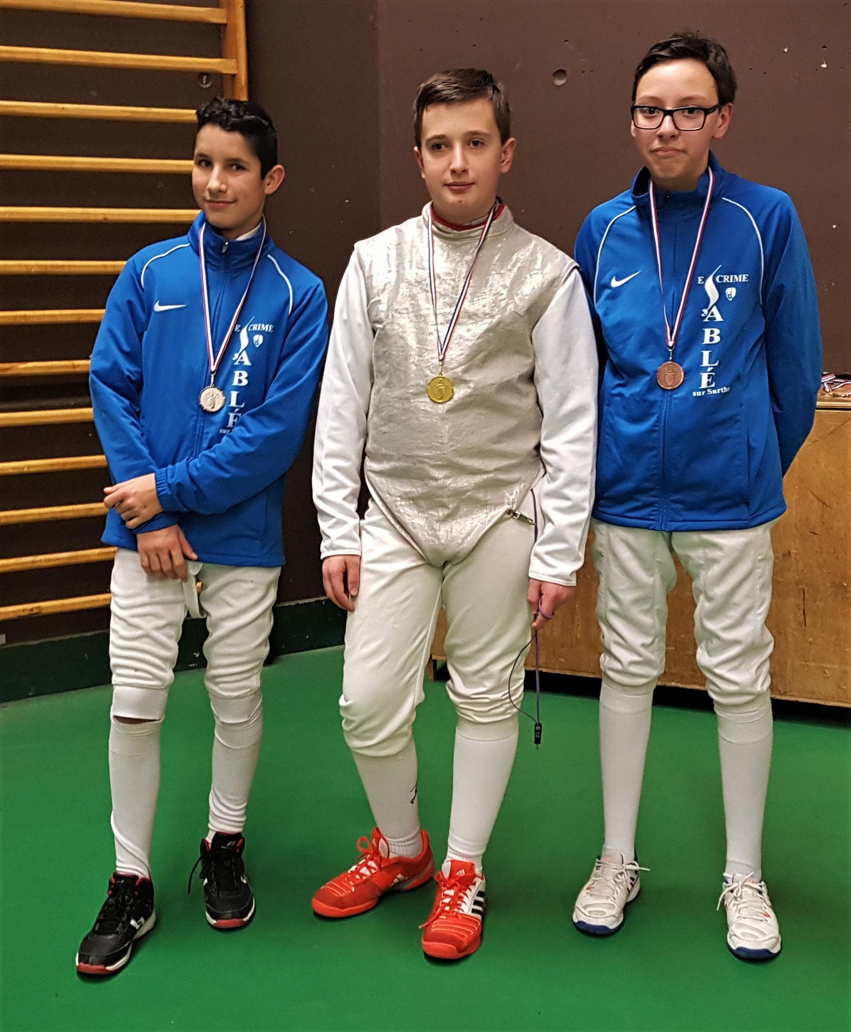 podium M15 Thibaut 2ème et Mathis 3ème