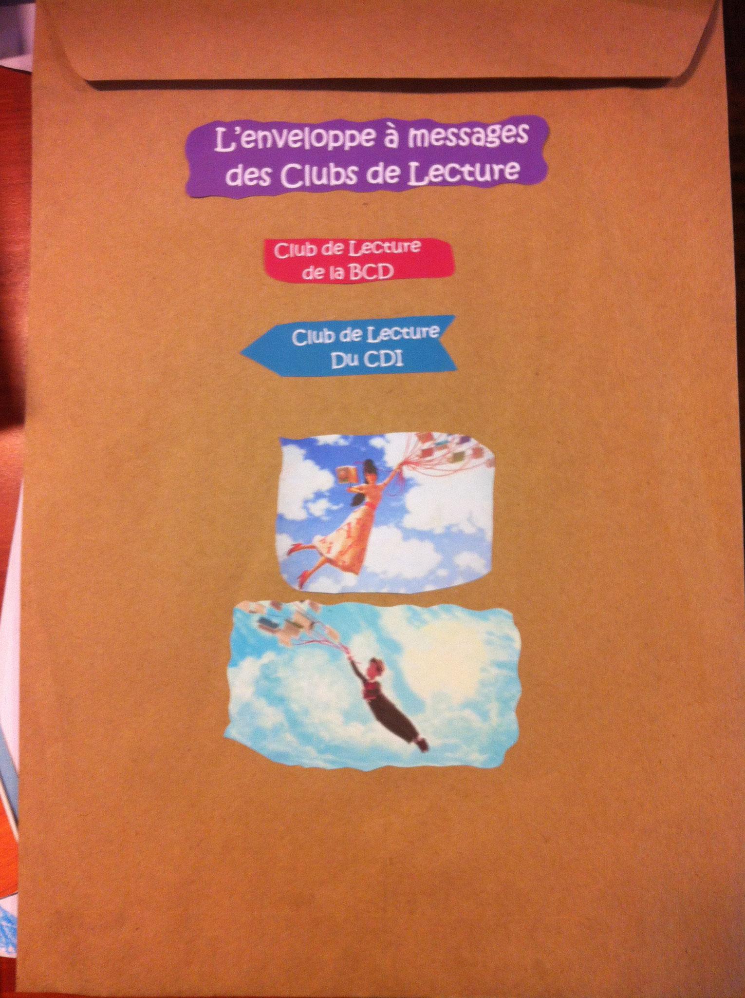 L'enveloppe envoyée au CDI, avec tous nos beaux dessins dedans