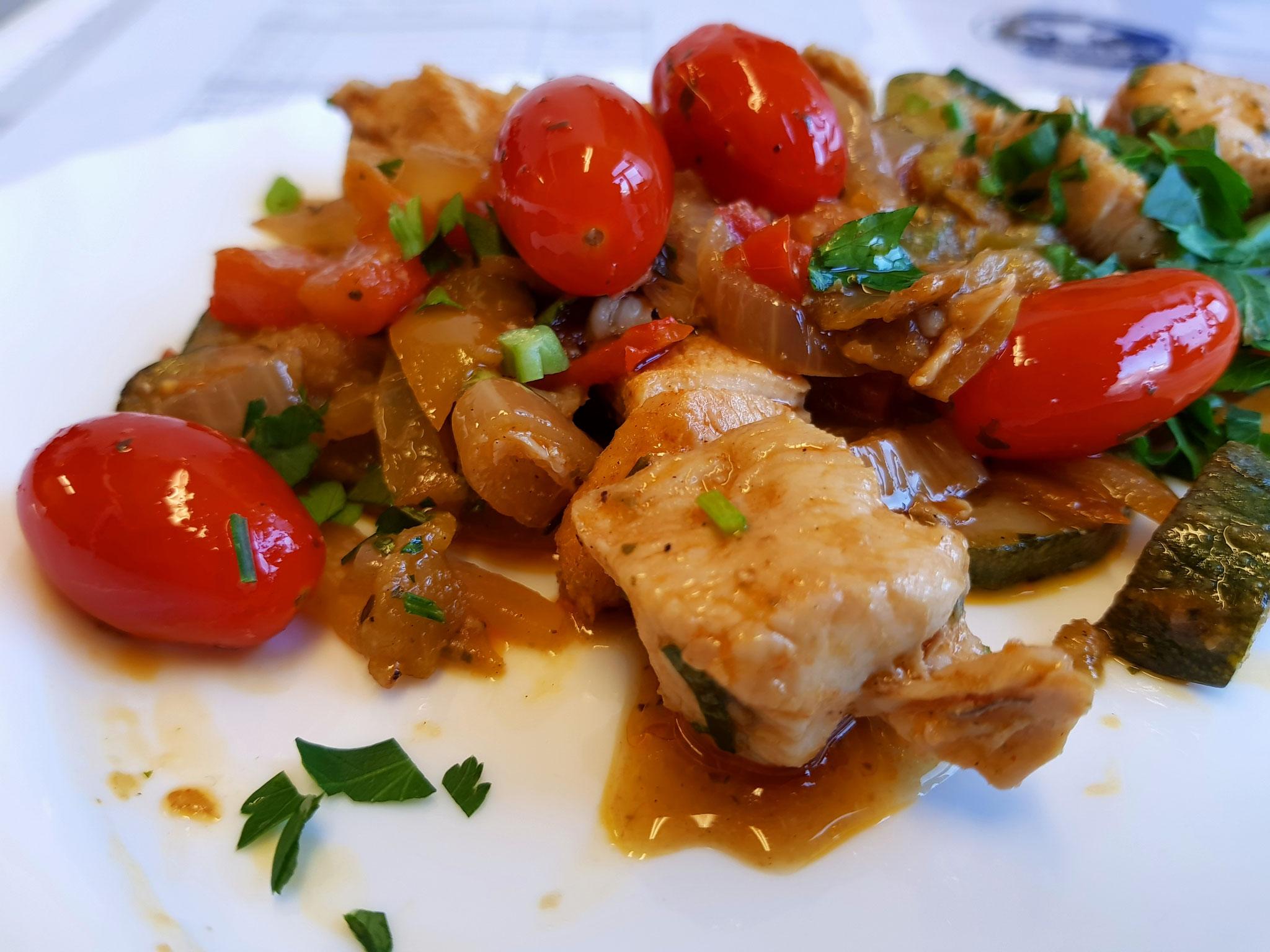Hähnchen - Gemüse Pfanne