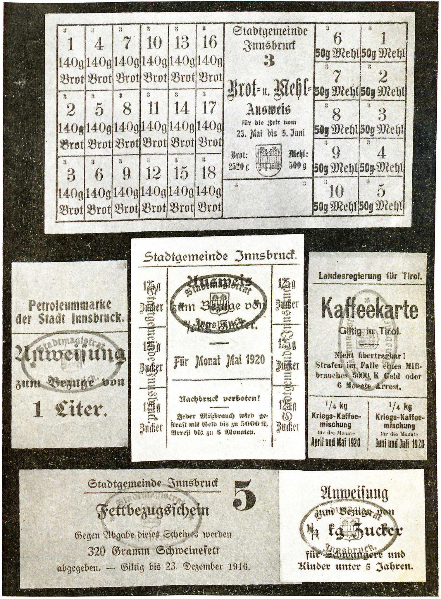 Bezugsscheine 1916/20
