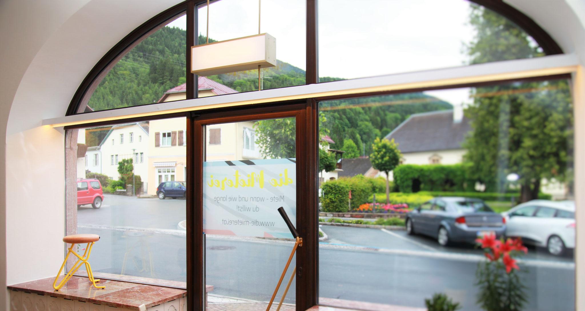 Blick aus dem Schaufenster