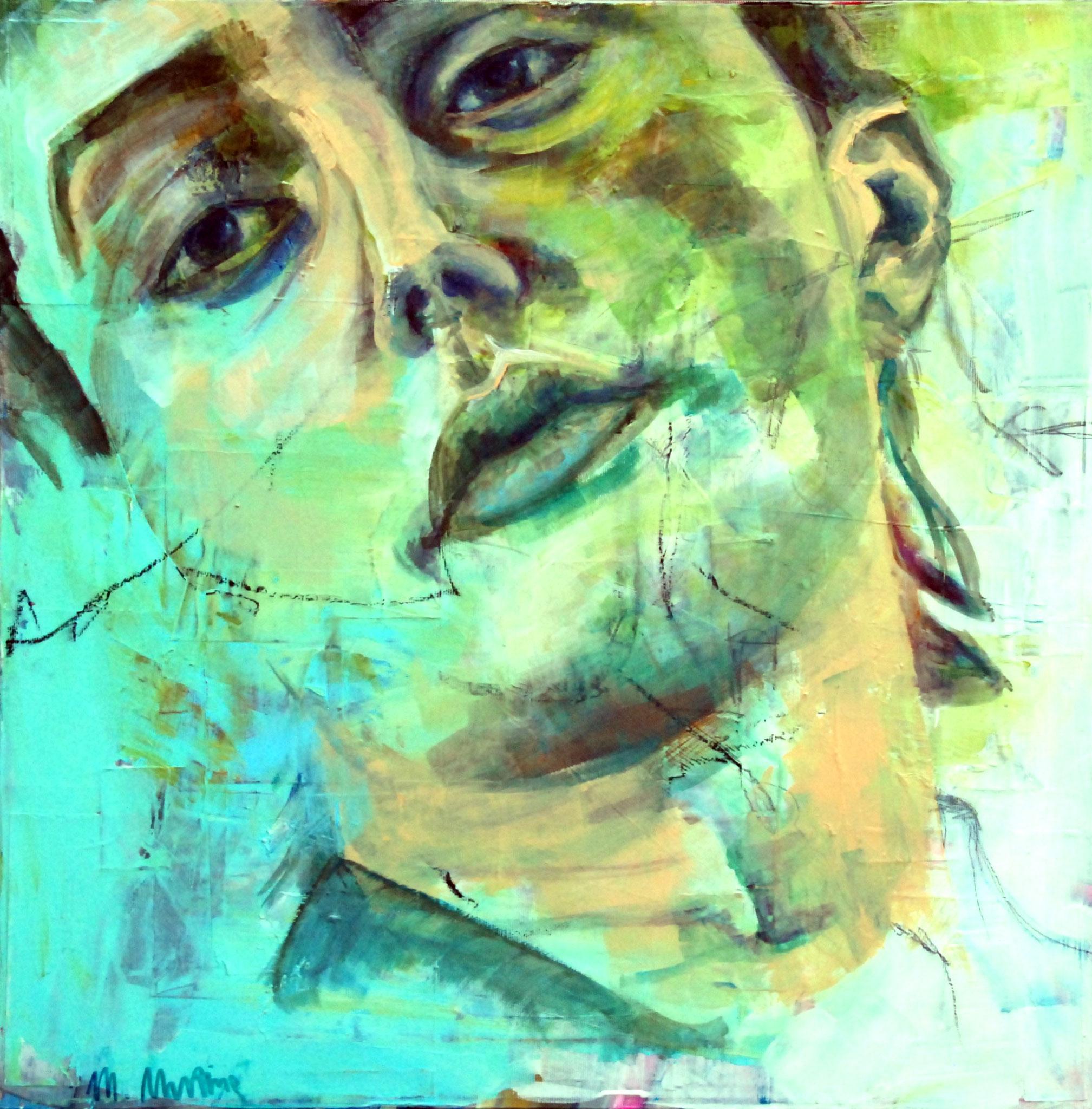 MAN (Heads V), Mixed Media auf Leinwand, 60cm x 60cm
