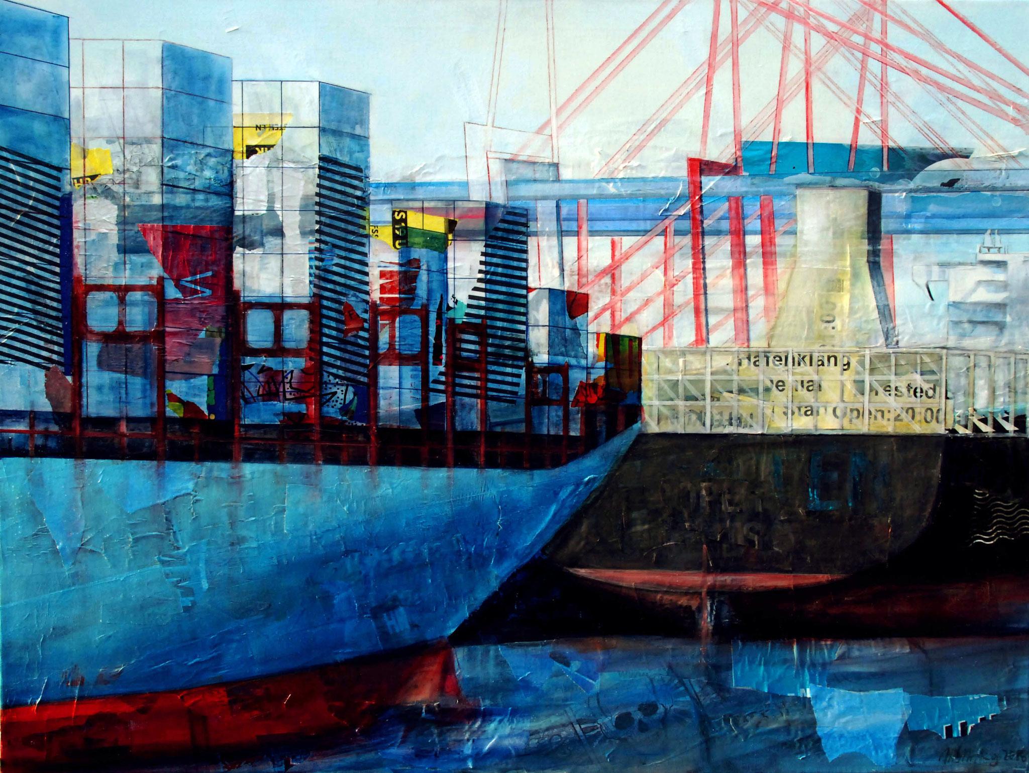 Hafenklang, Mixed Media auf Leinwand, 90cm x 120cm