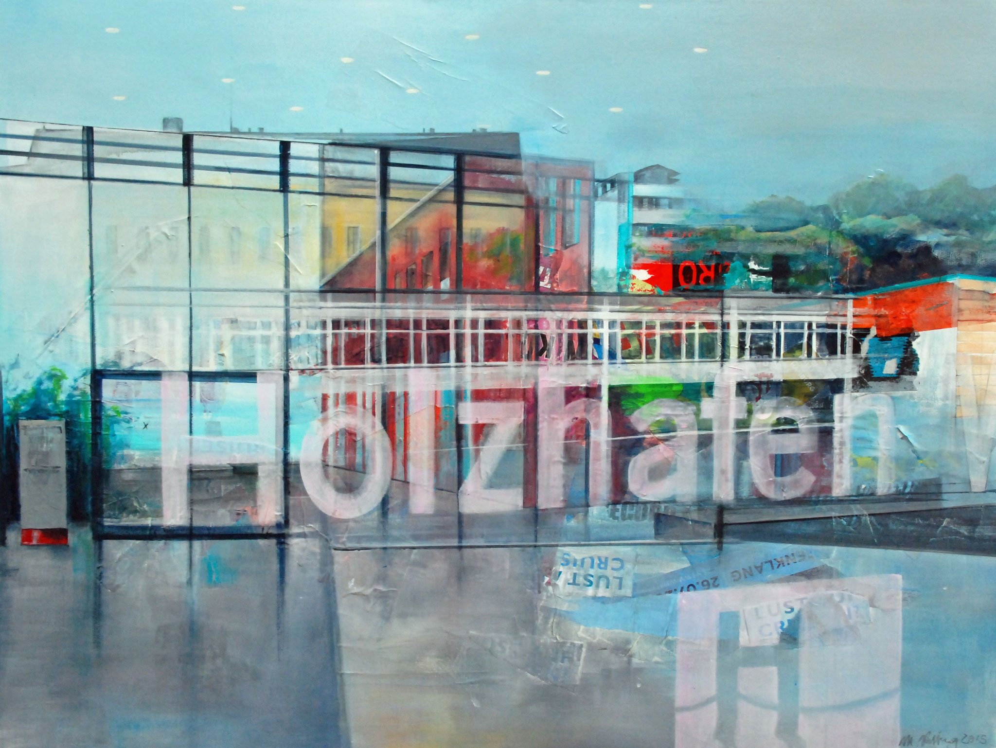 Holzhafen, Mixed Media auf Leinwand, 90cm x 120cm