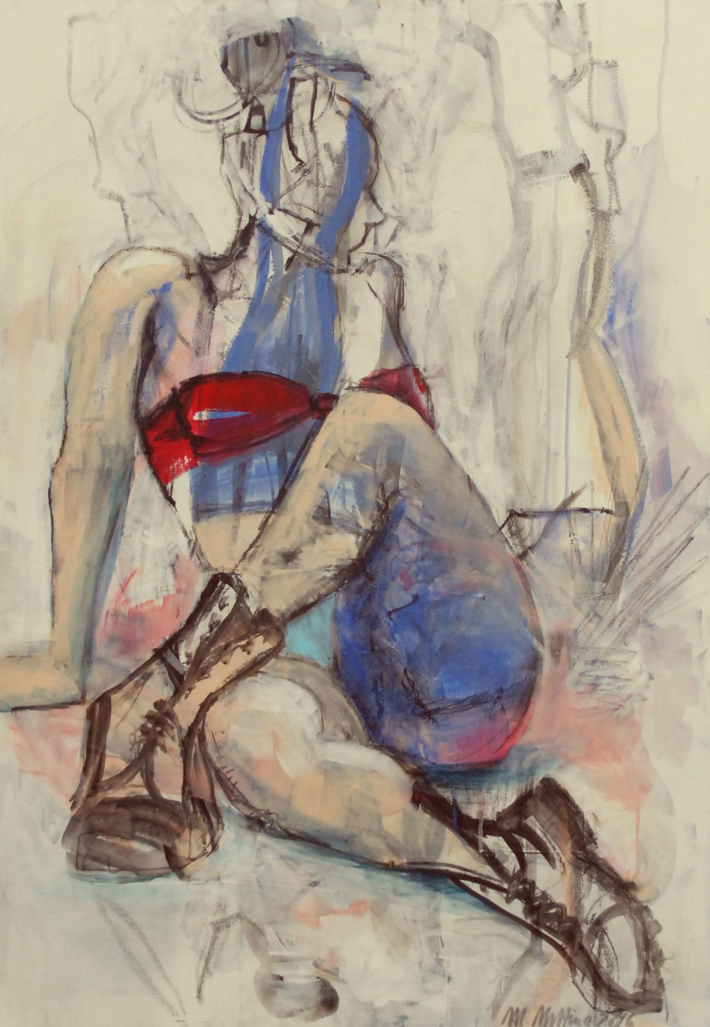 Der rote BH, 2016, Acryl, Edding und Graphit auf Leinwand, 100cm x 70cm