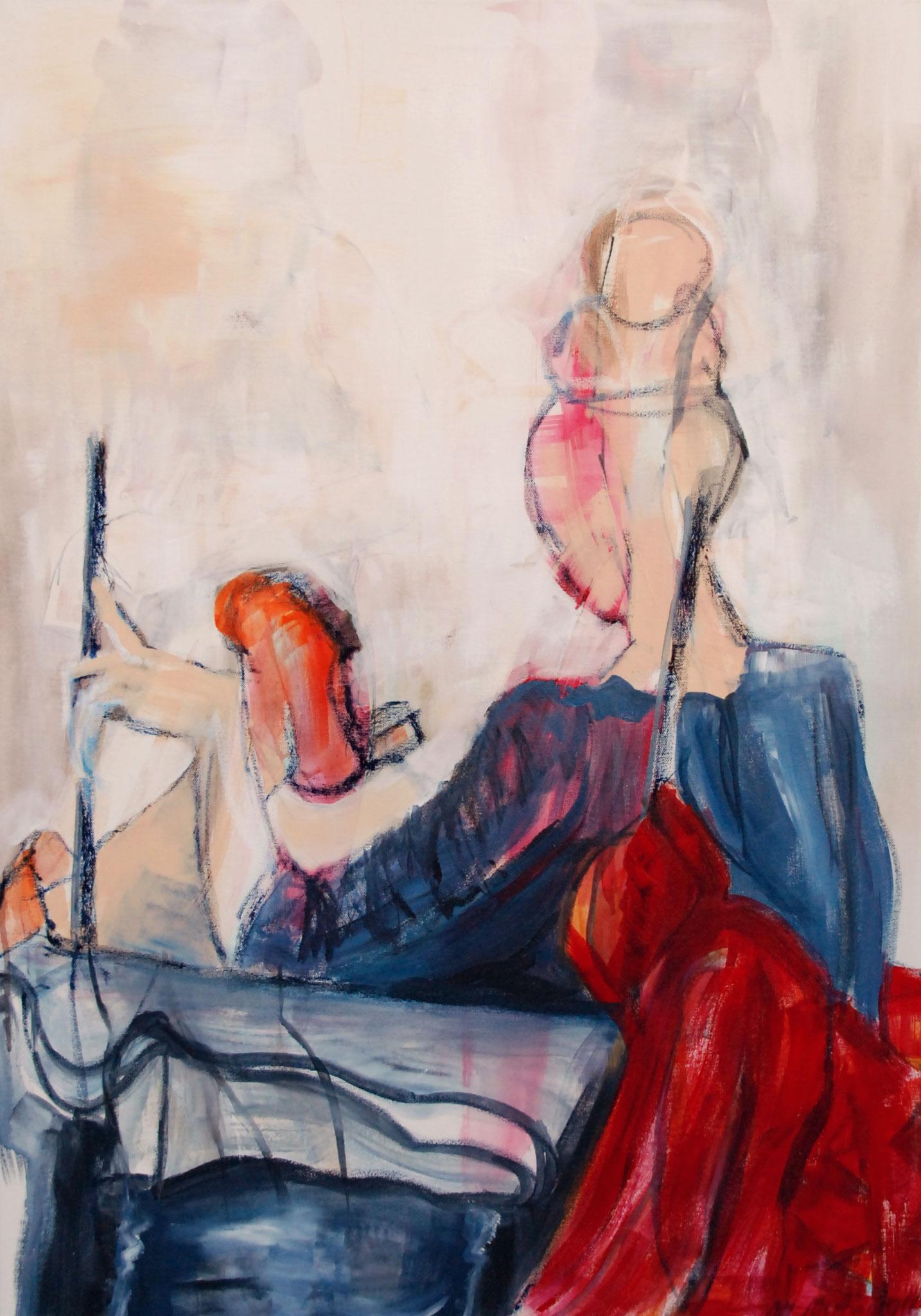 Kristina sitzend, Mixed Media auf Leinwand, 100cm x 70cm