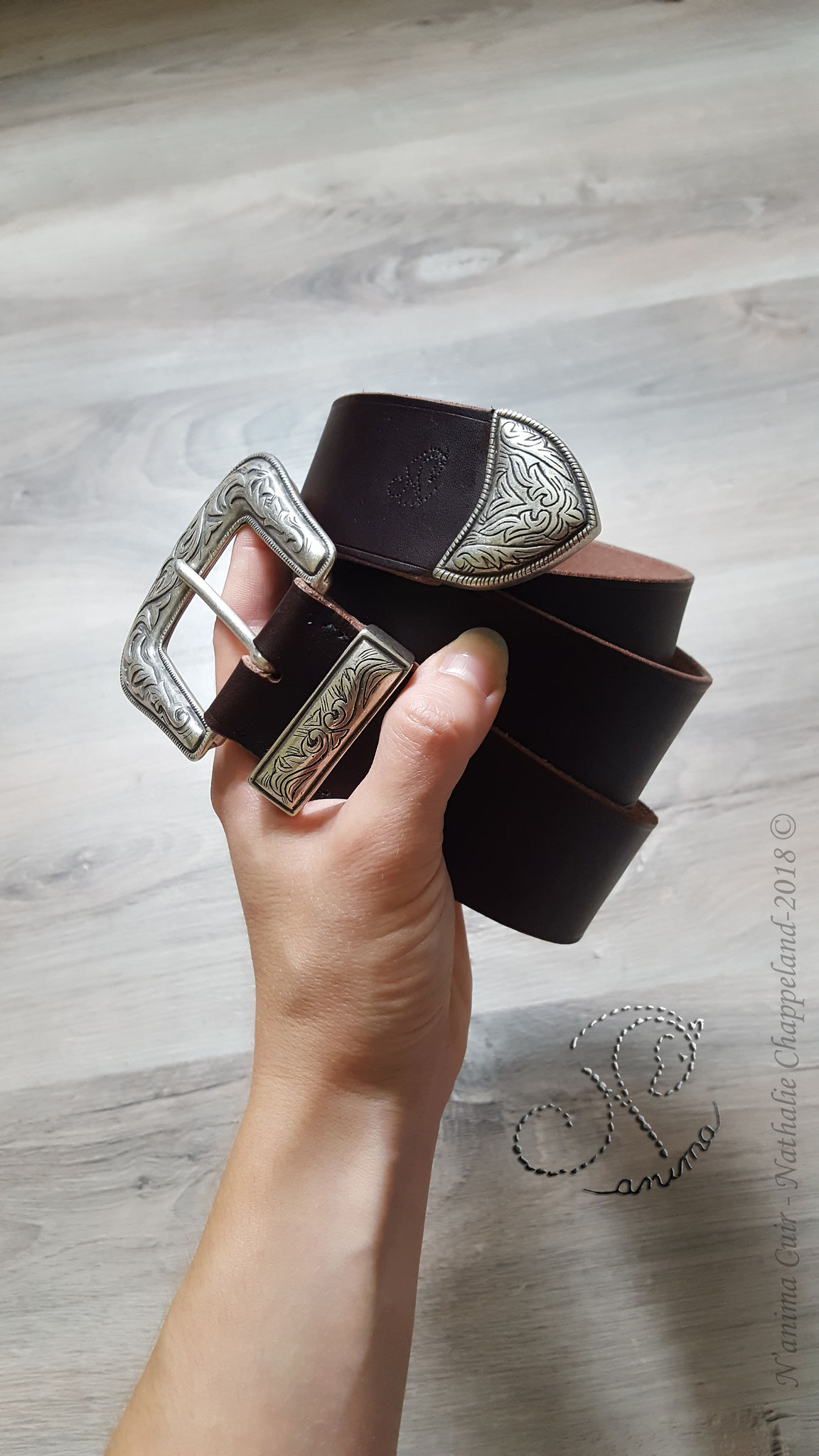 Ceinture Western homme (40mm), couture main au point sellier, 2018 ©.