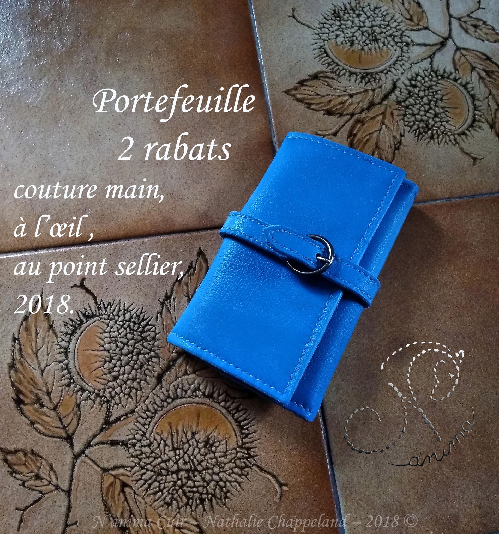 """portefeuille 2 rabats """"bleu mer"""", couture main, à l'œil, au point sellier, 2018 ©"""