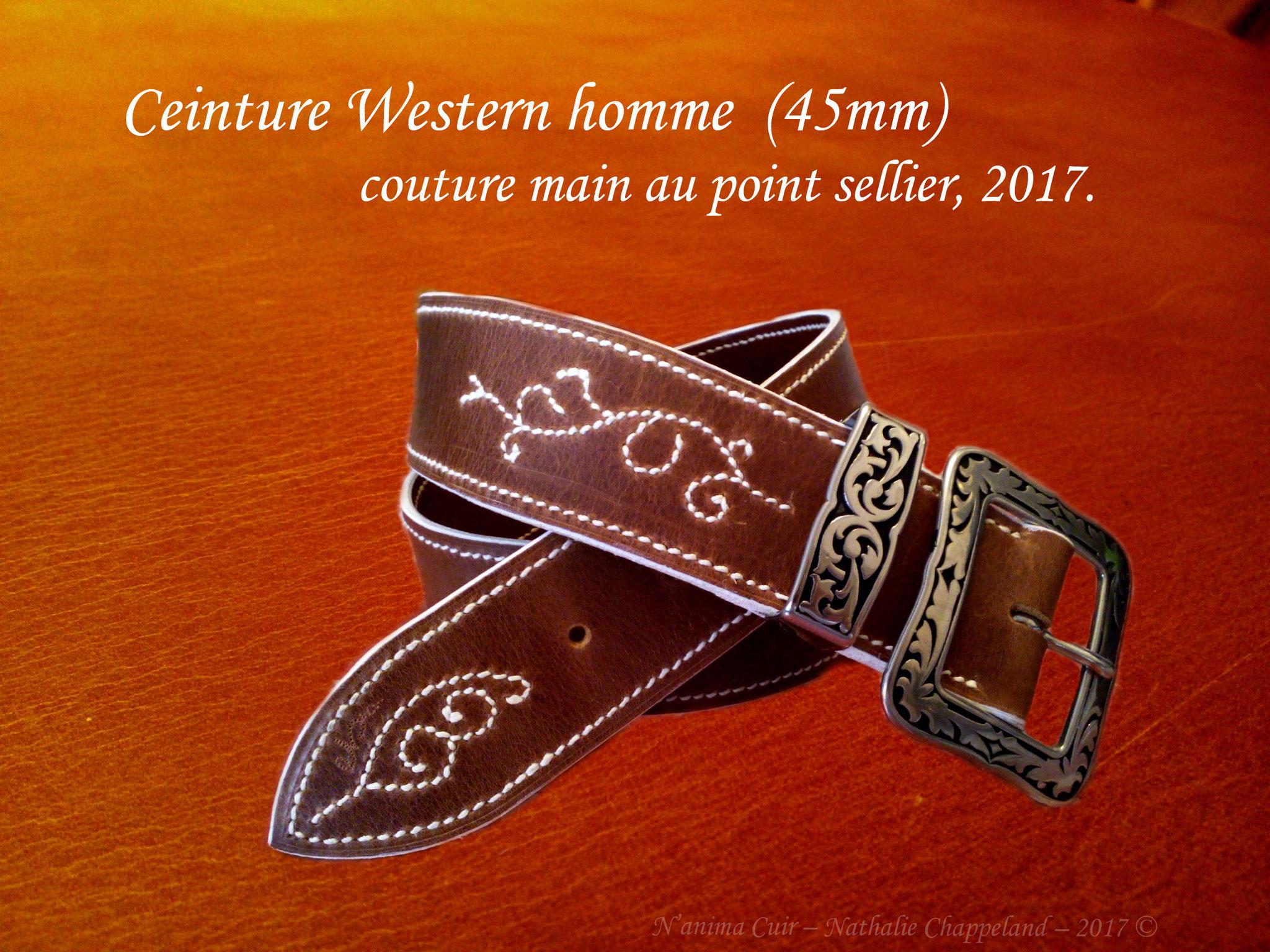 Ceinture Western homme (45mm), coutures et fonçures main au point sellier, 2017 ©.