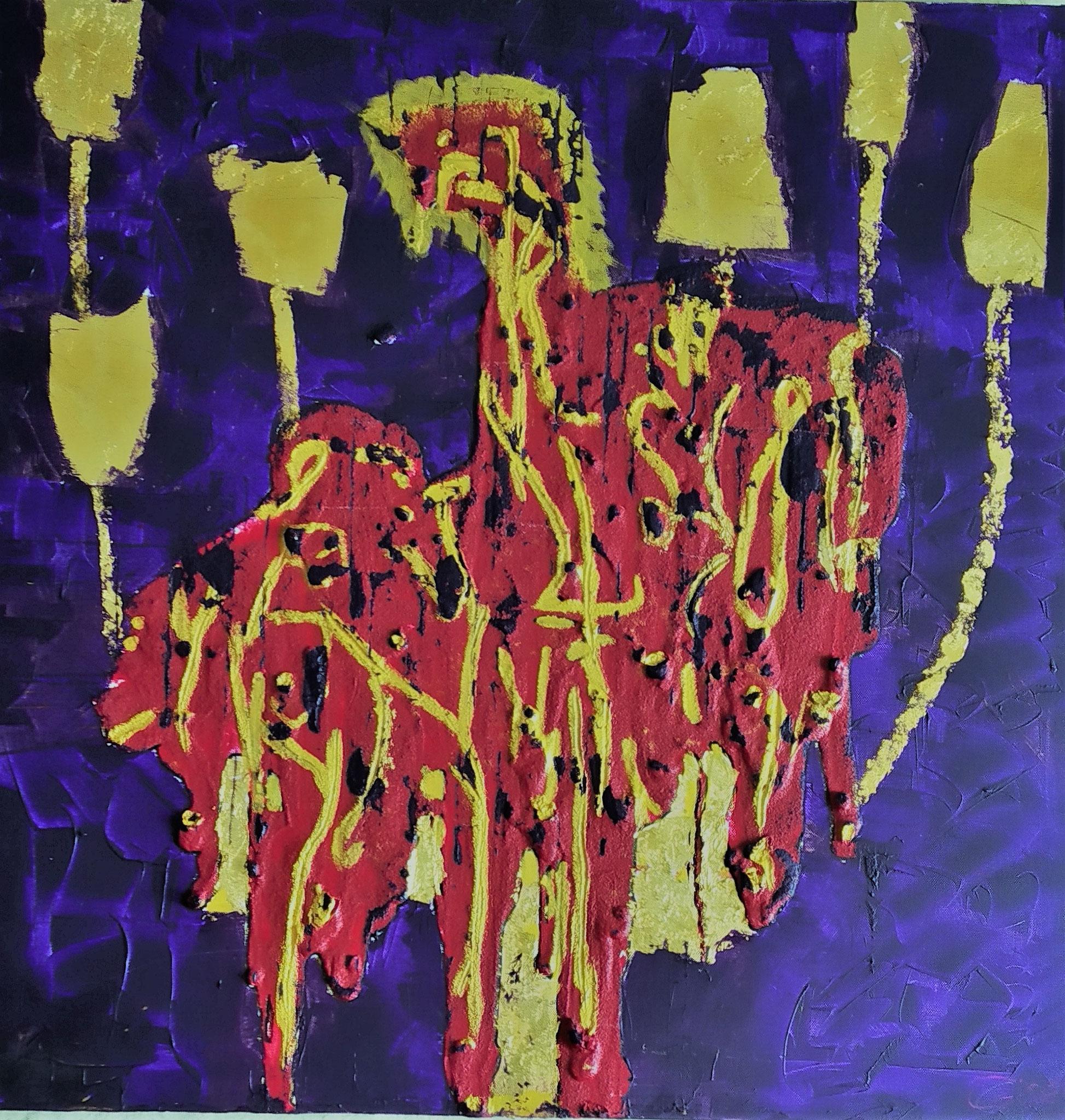 34. Eine Wahl treffen, entscheide dich, welchen Weg wählst Du, Acryl/Blattgold auf Leinwand 80 x 80 cm