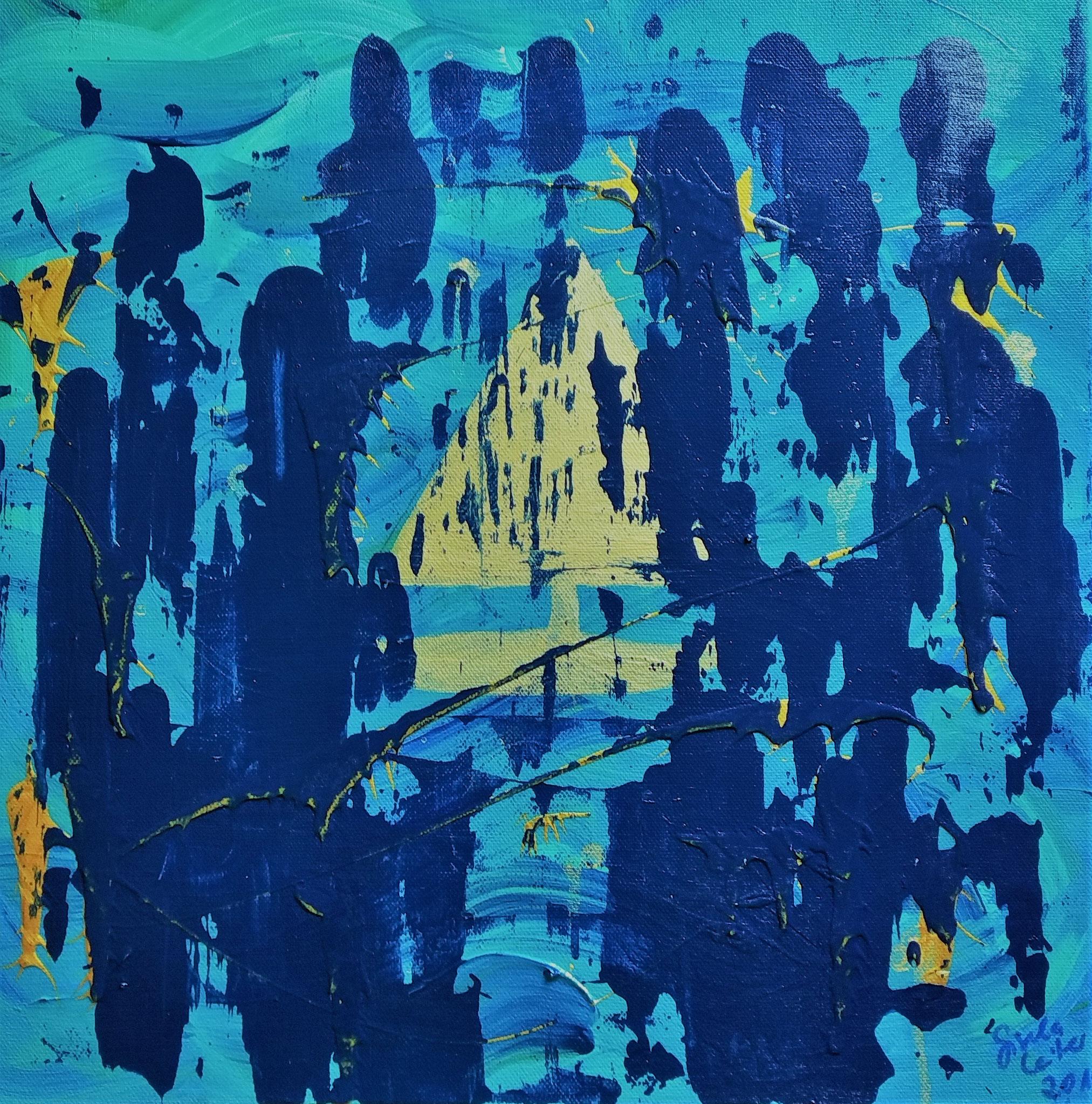 19. Wasserelement, Acryl auf Leinwand, Grösse 40 x 40 cm