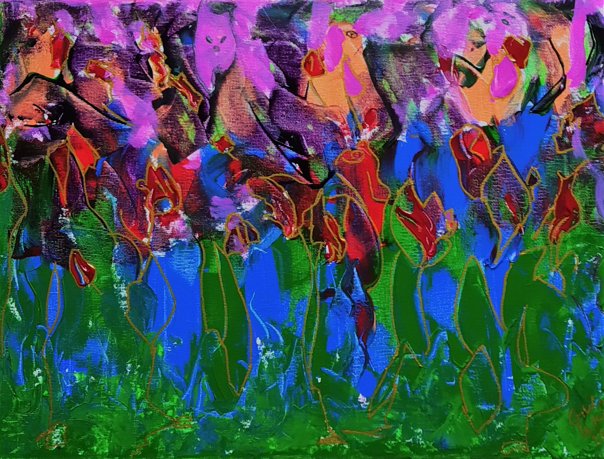 29. Den blühenden Garten entdecken im Selbst, Acryl auf Leinwand, Grösse 40 x 30 cm
