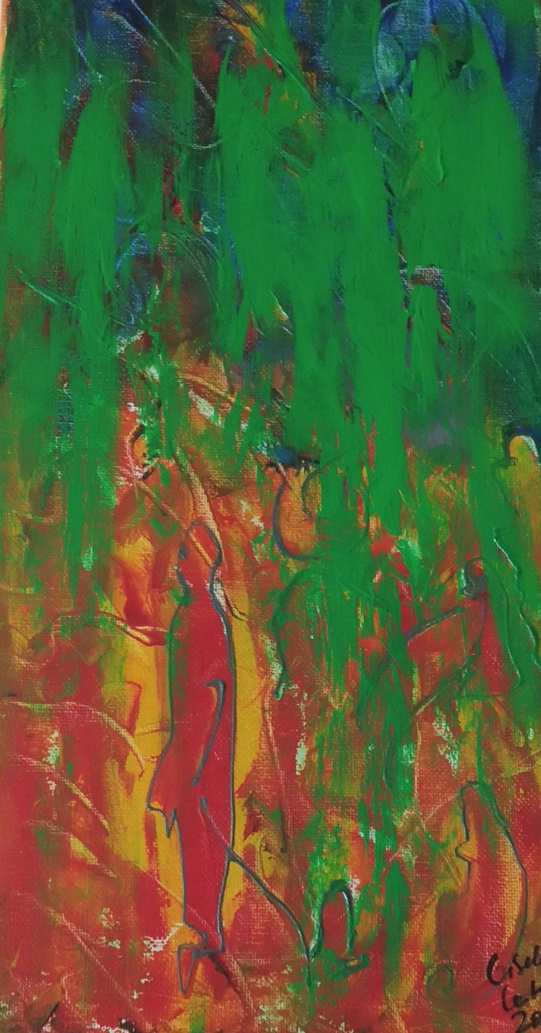 15. Reinigung der weiblichen Seite, Acryl auf Leinwand, Grösse 20 x 40 cm