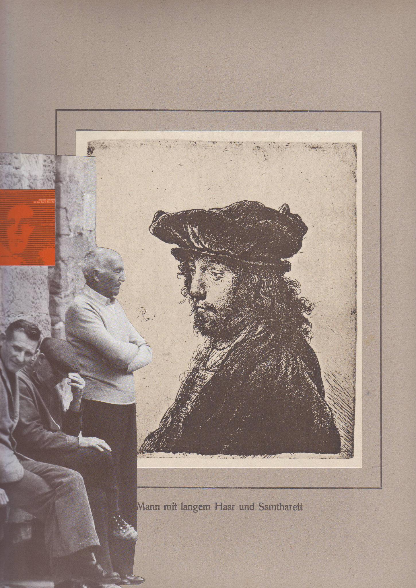 Mann mit langem Haar und Samtbarett – Radierung von Rembrandt