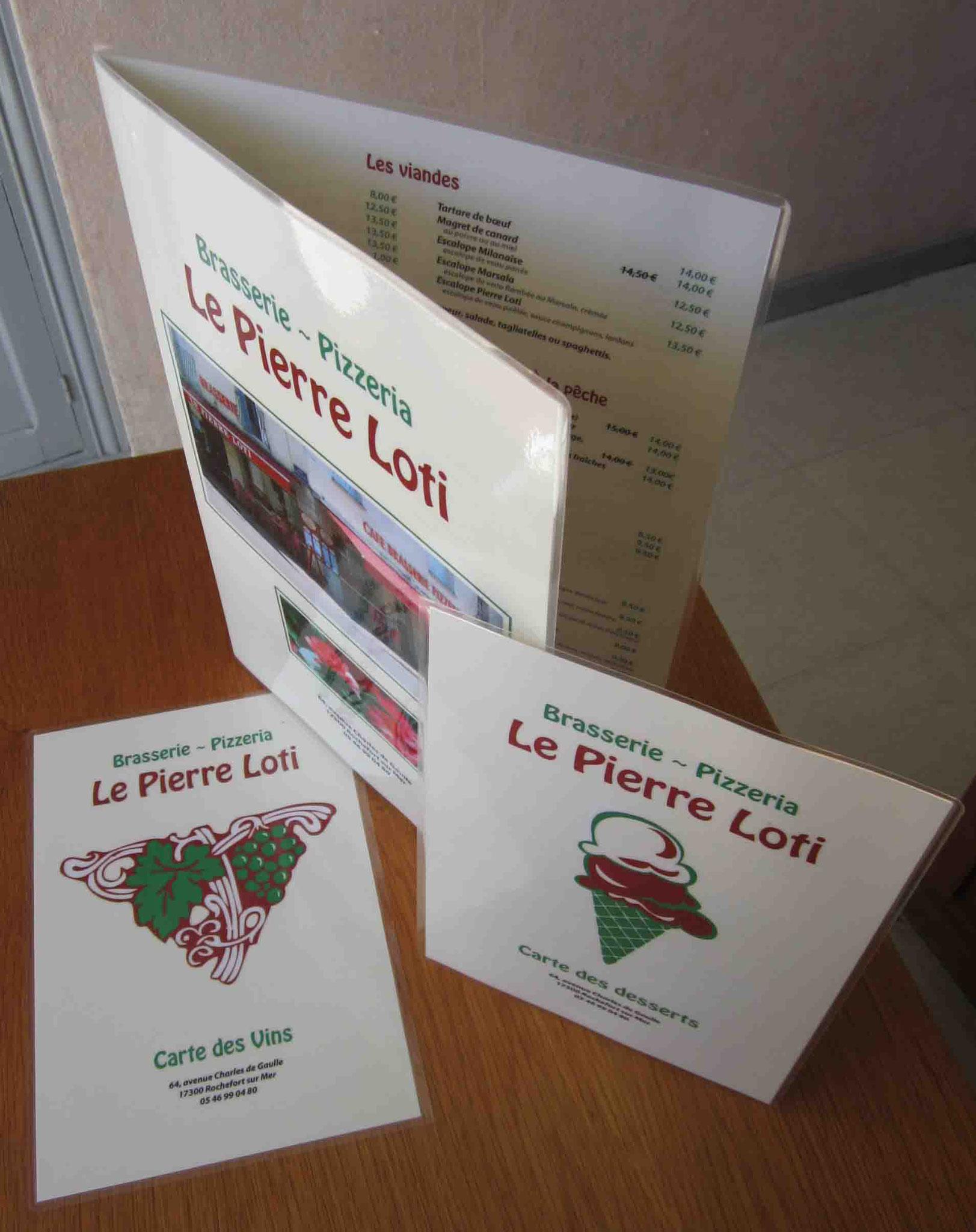 Cartes et menu de brasserie (création Imprim17)