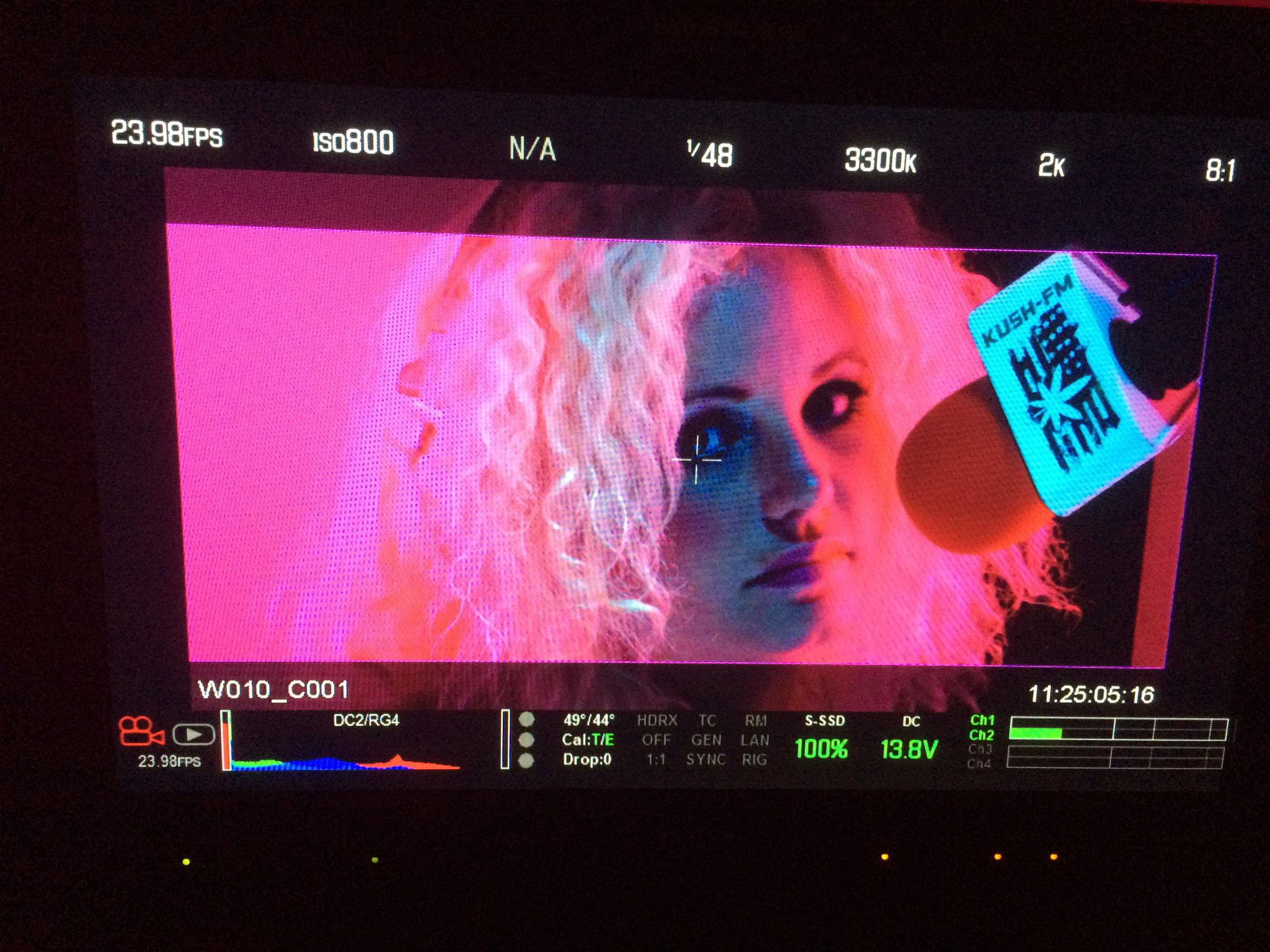 Shot of the monitor of Ellie Church during the filming of some of DJ Mary Jane's scenes.