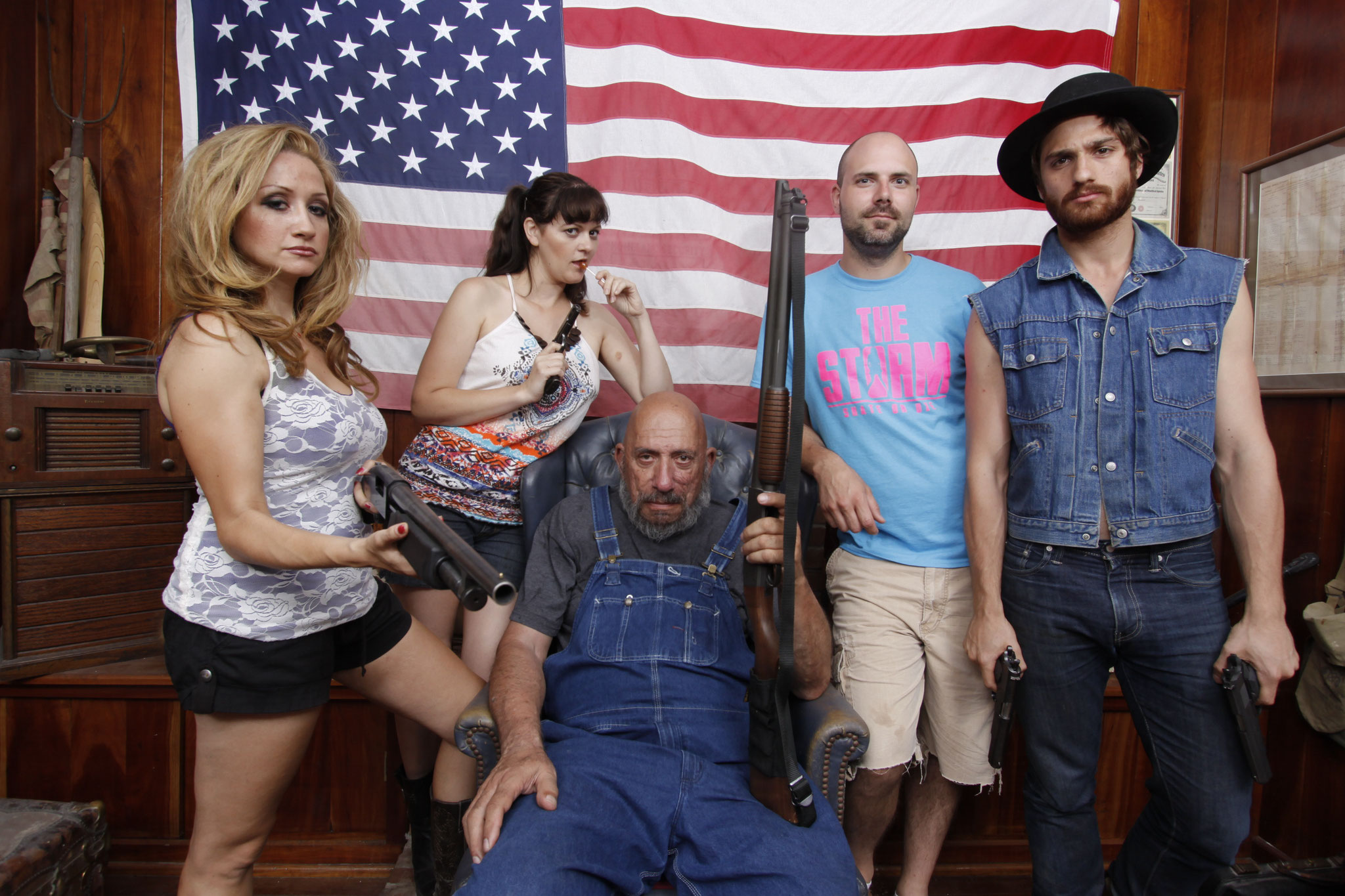 Cast members and director, L/R: Fiona Domenica, Brenda Whitehead, Sid Haig, Tony Wash, Adam Budron