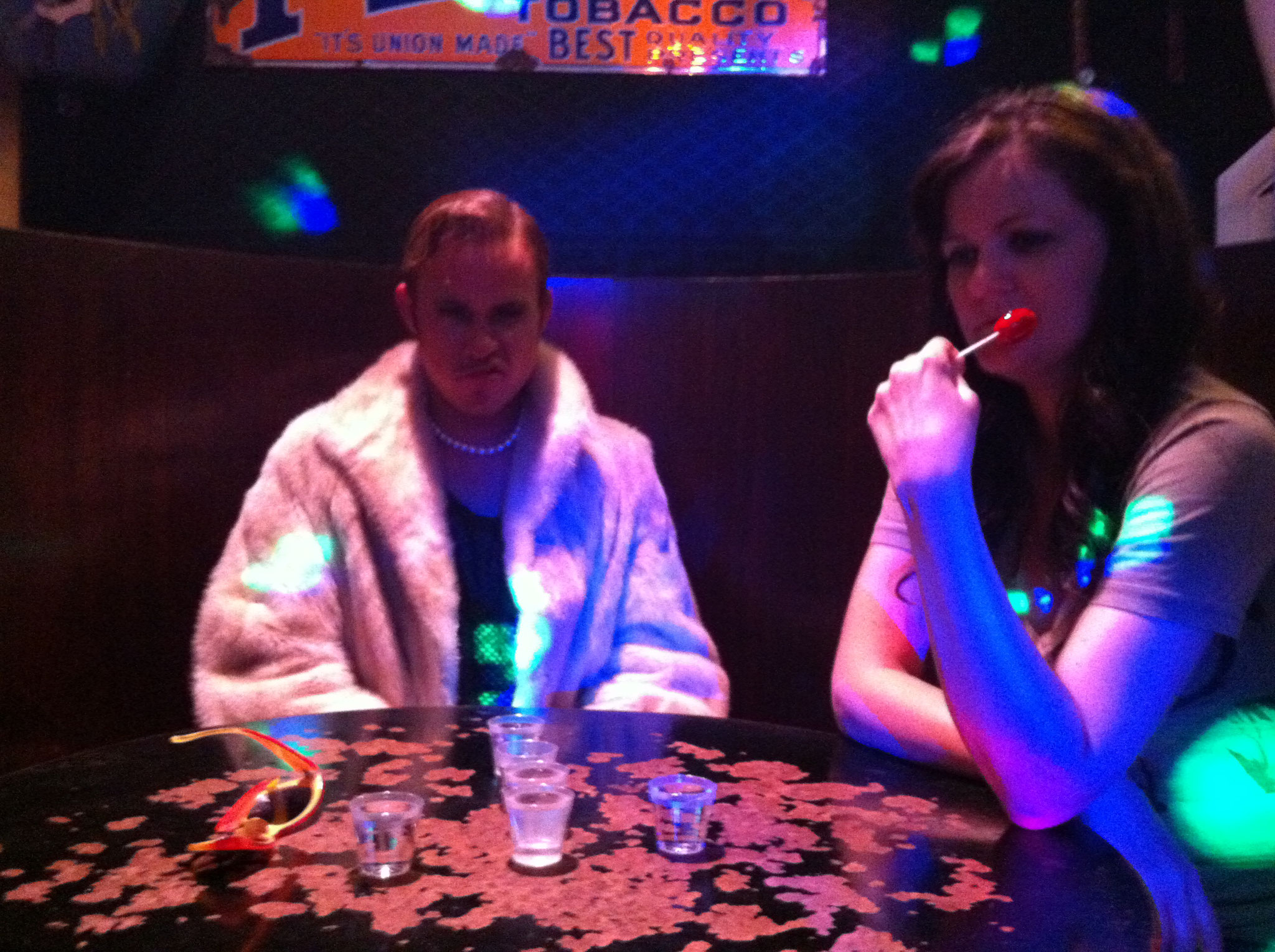 Jesse C. Boyd and Brenda Whitehead hanging out between shots in Kittens Nightclub.