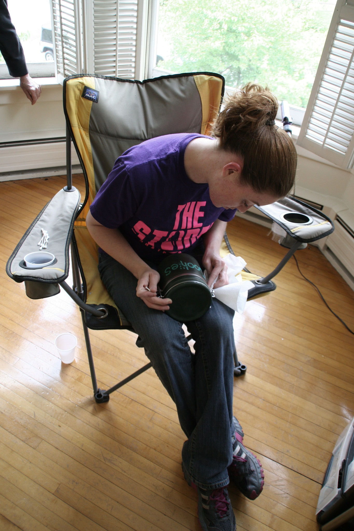 Art gal Amanda Eastman prepping a prop.