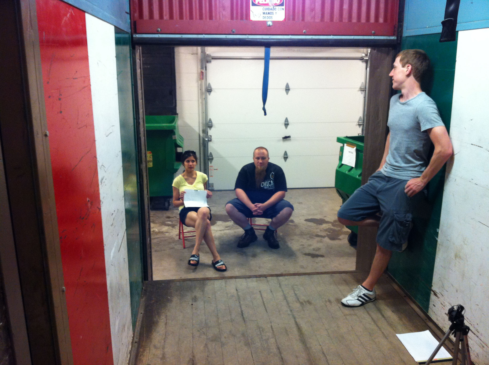 Brian, Elyse and Jim hanging out during some location scouting for Chop Shop.