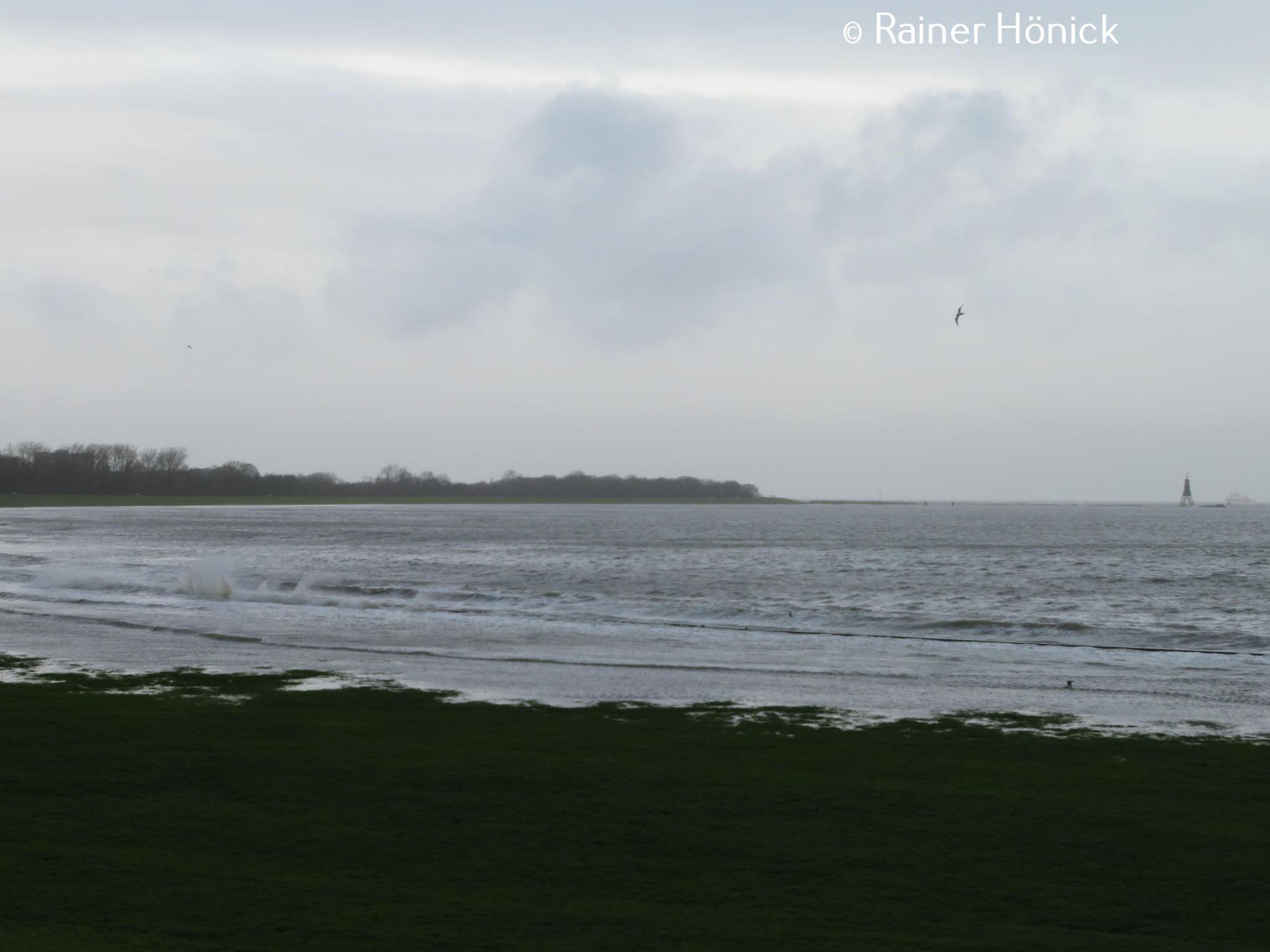 Das Wasser der Elbe überflutet die Promenade