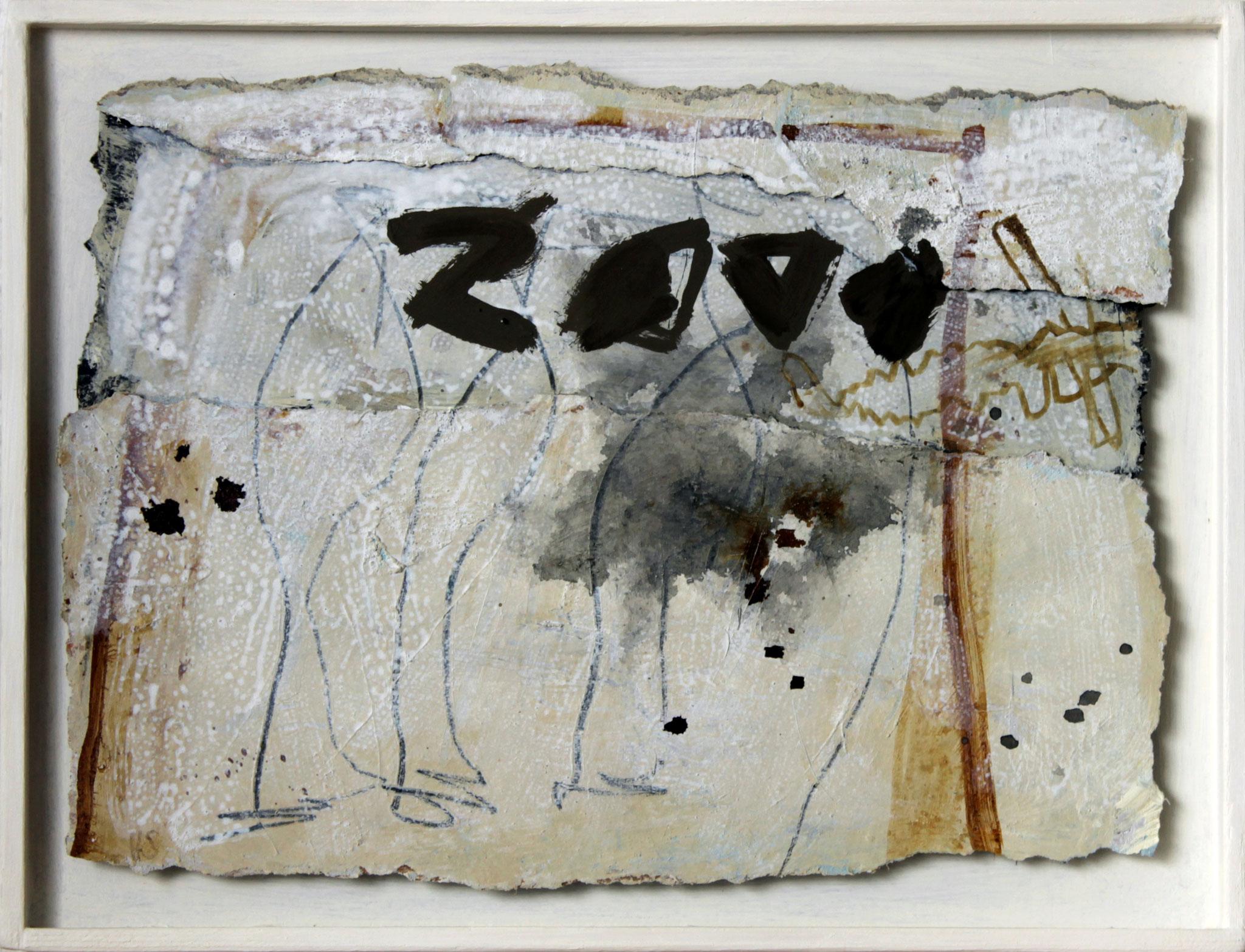 Aus der Reihe `Paperworks` P13,  2018,  Papier / Beize / Tusche, 35 x 45 cm