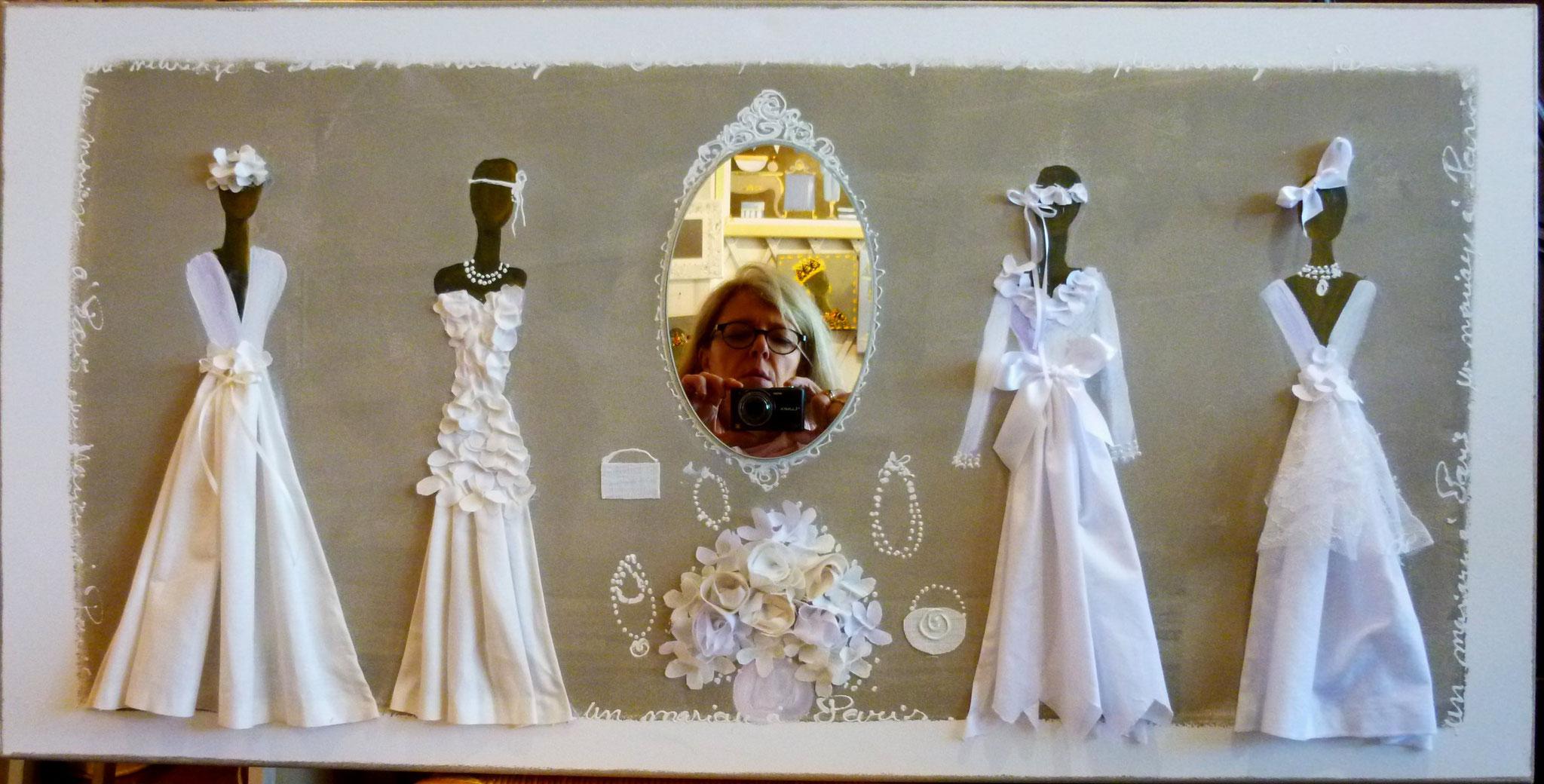 Tableau toile Boutique de la mariée 50x100