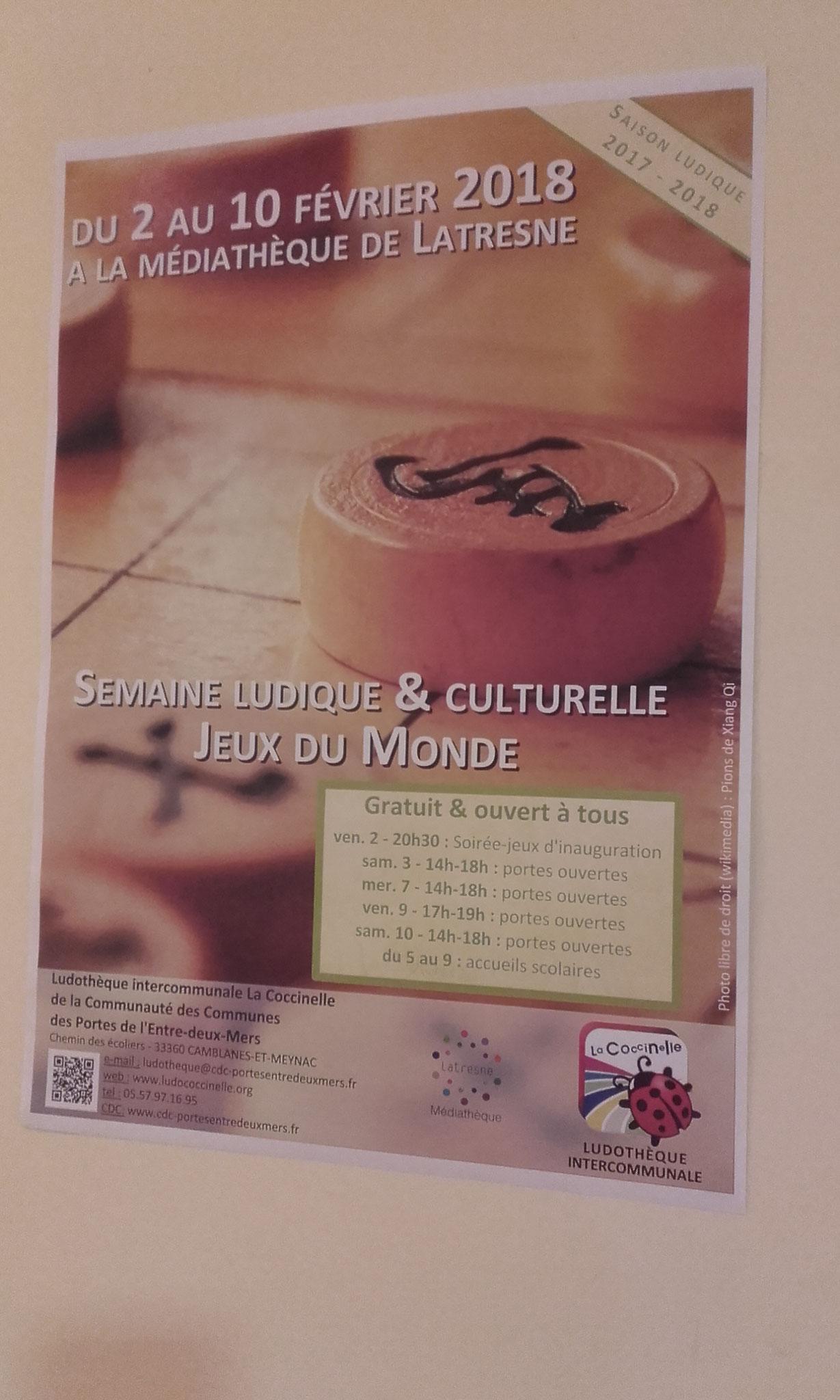 affiche de la semaine ludique & culturelle