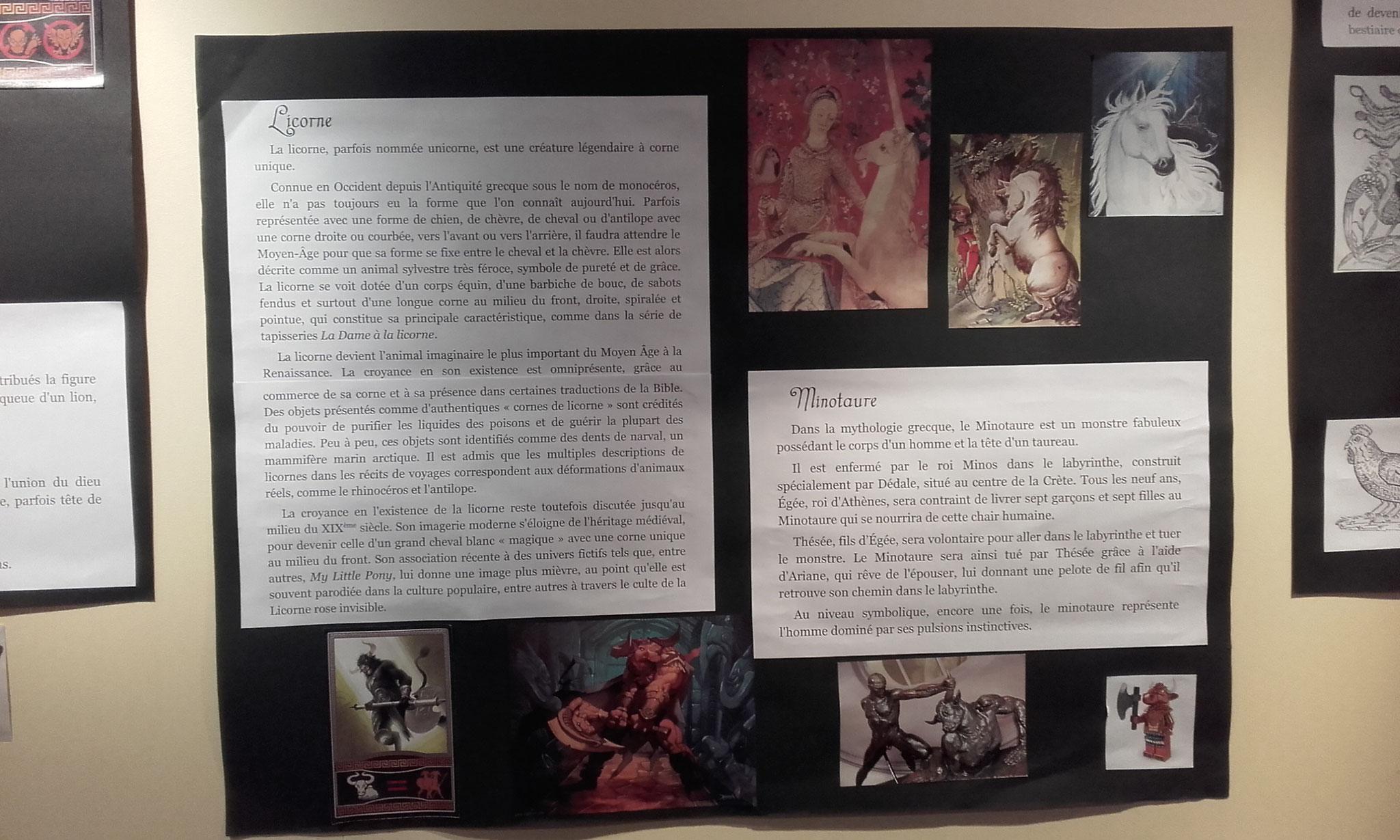 les chimères : Licorne et Minotaure