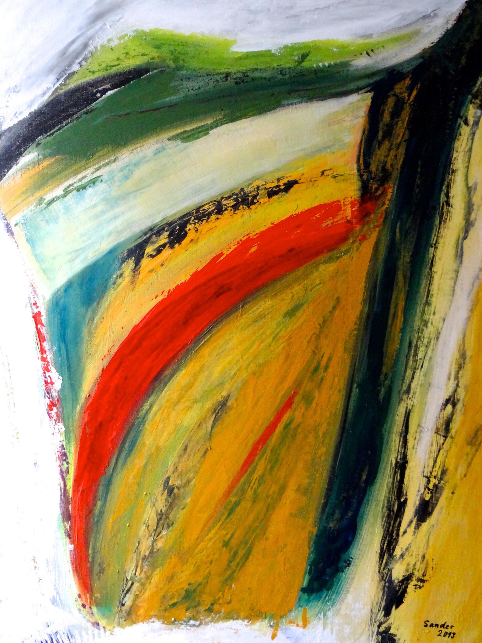 Farbenspiel 1, 70 x 50 cm, Acrylfarben auf Malkarton, signiert und datiert 2013