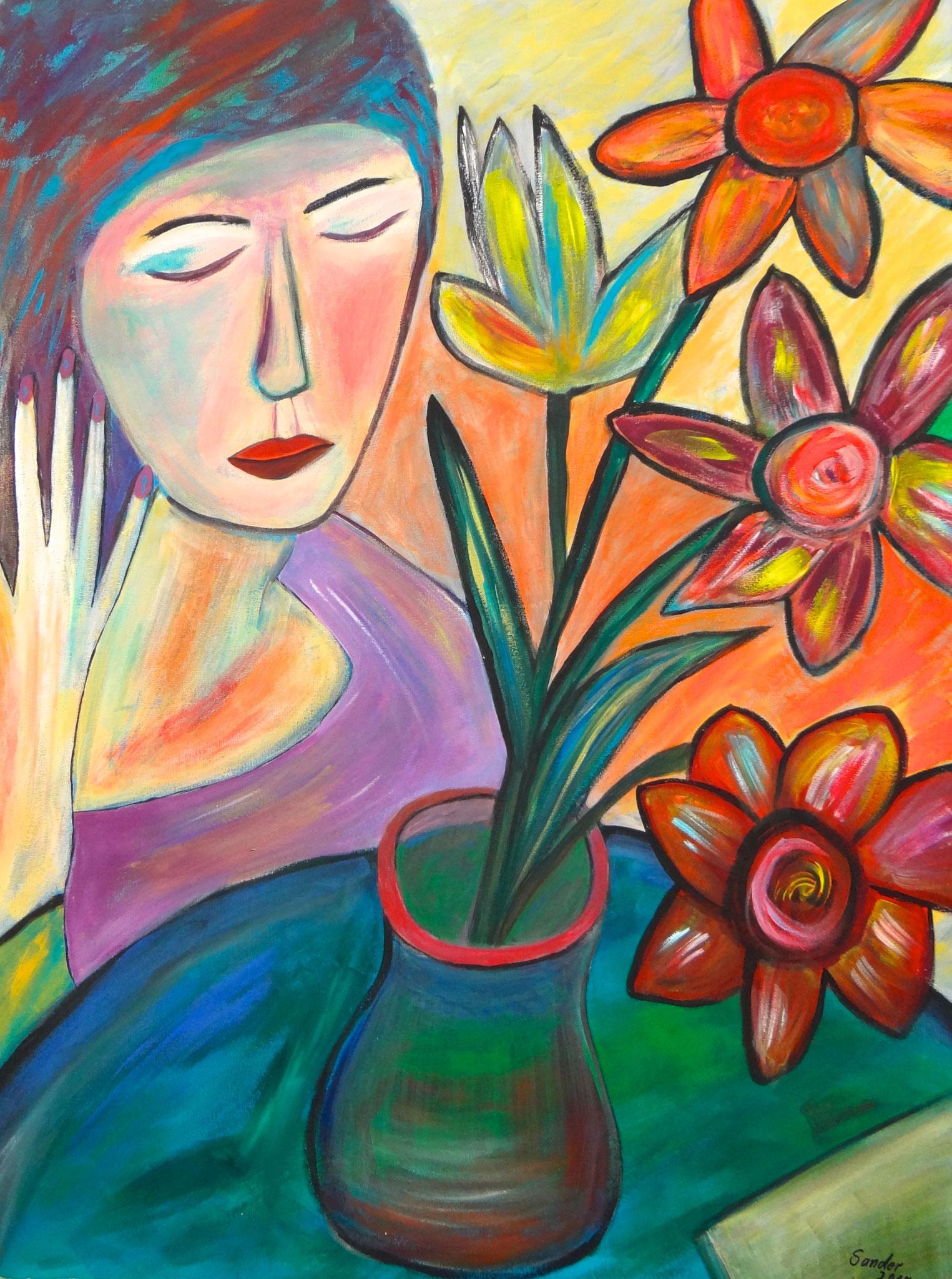 Mädchen mit Blumenvase, 80 x 60 cm, Acrylfarben auf Keilrahmen, signiert und datiert 2015
