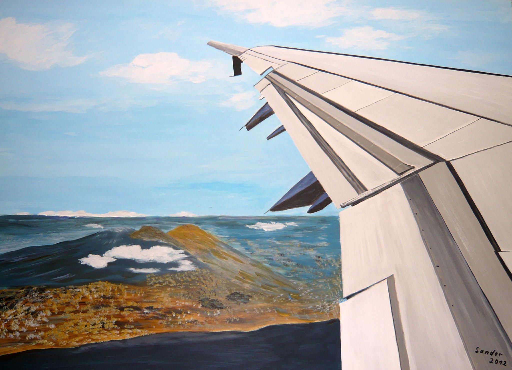 Anflug auf Neapel, 70 x 50 cm, Acrylfarben auf Malplatte, signiert und datiert 2012
