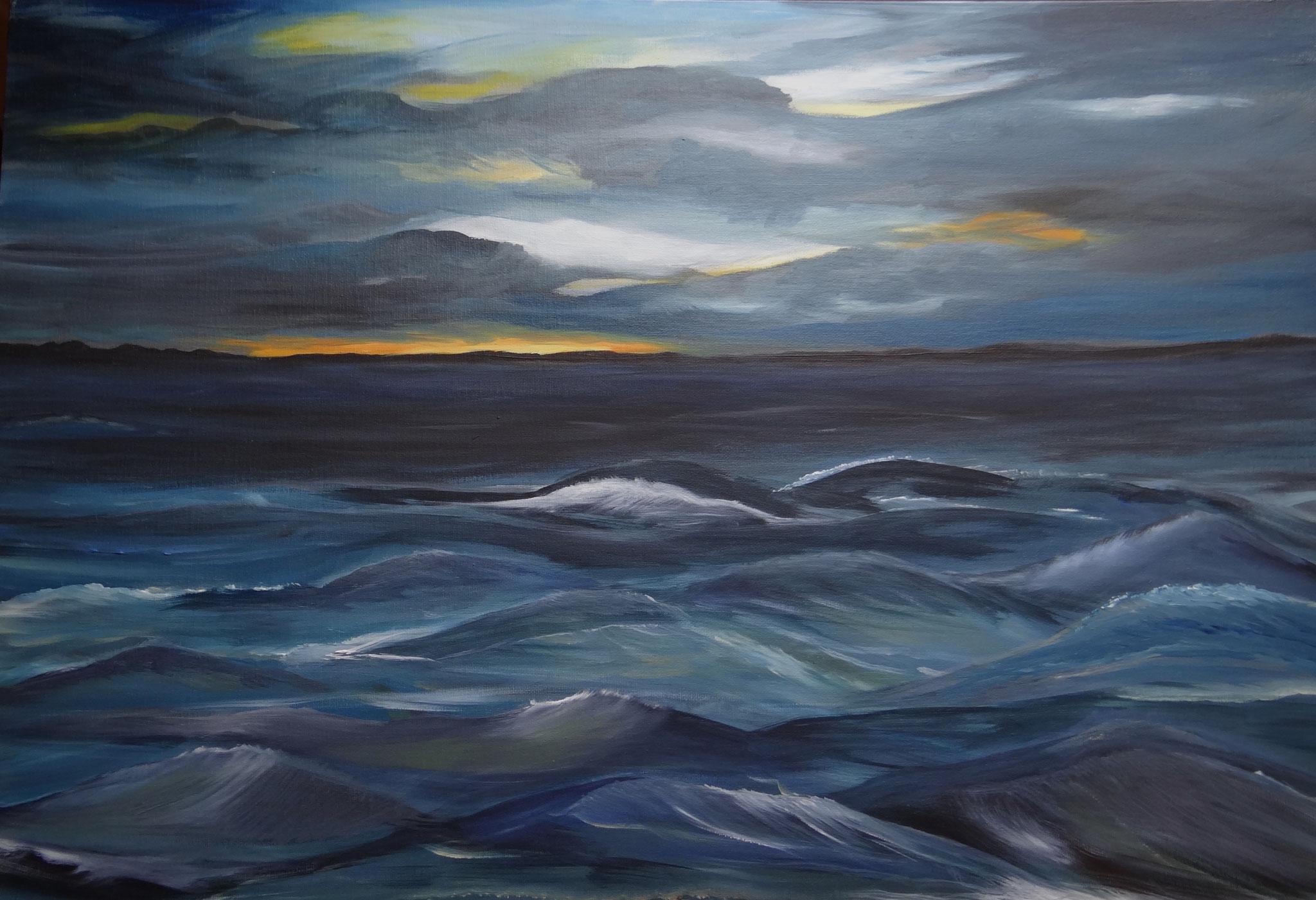 Ostsee 1, 70 x 50 cm, Ölfarben auf Malkarton, signiert und datiert 2014