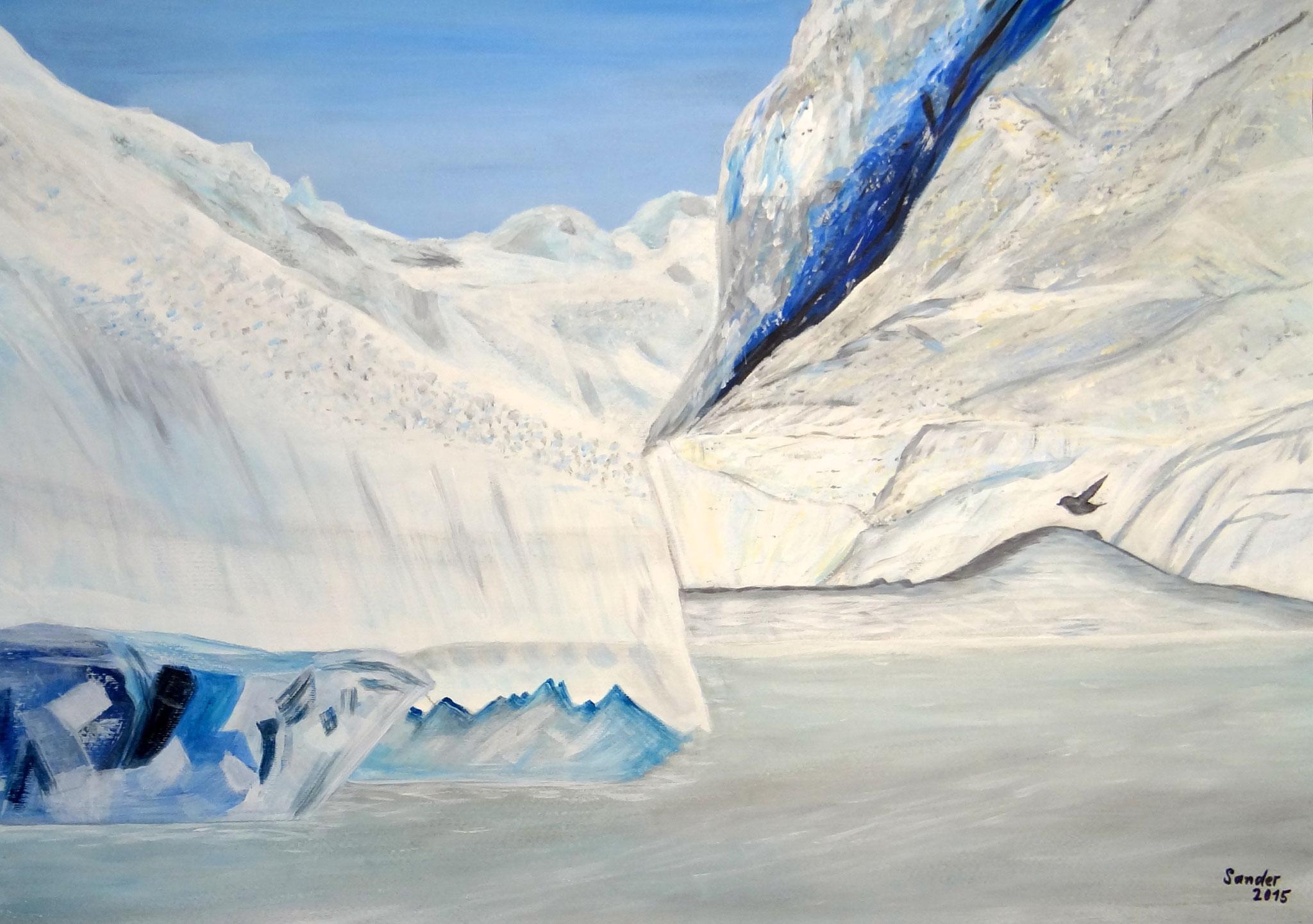 Gletscher 1, 70 x 50 cm, Acrylfarben auf Papier, signiert und datiert 2015