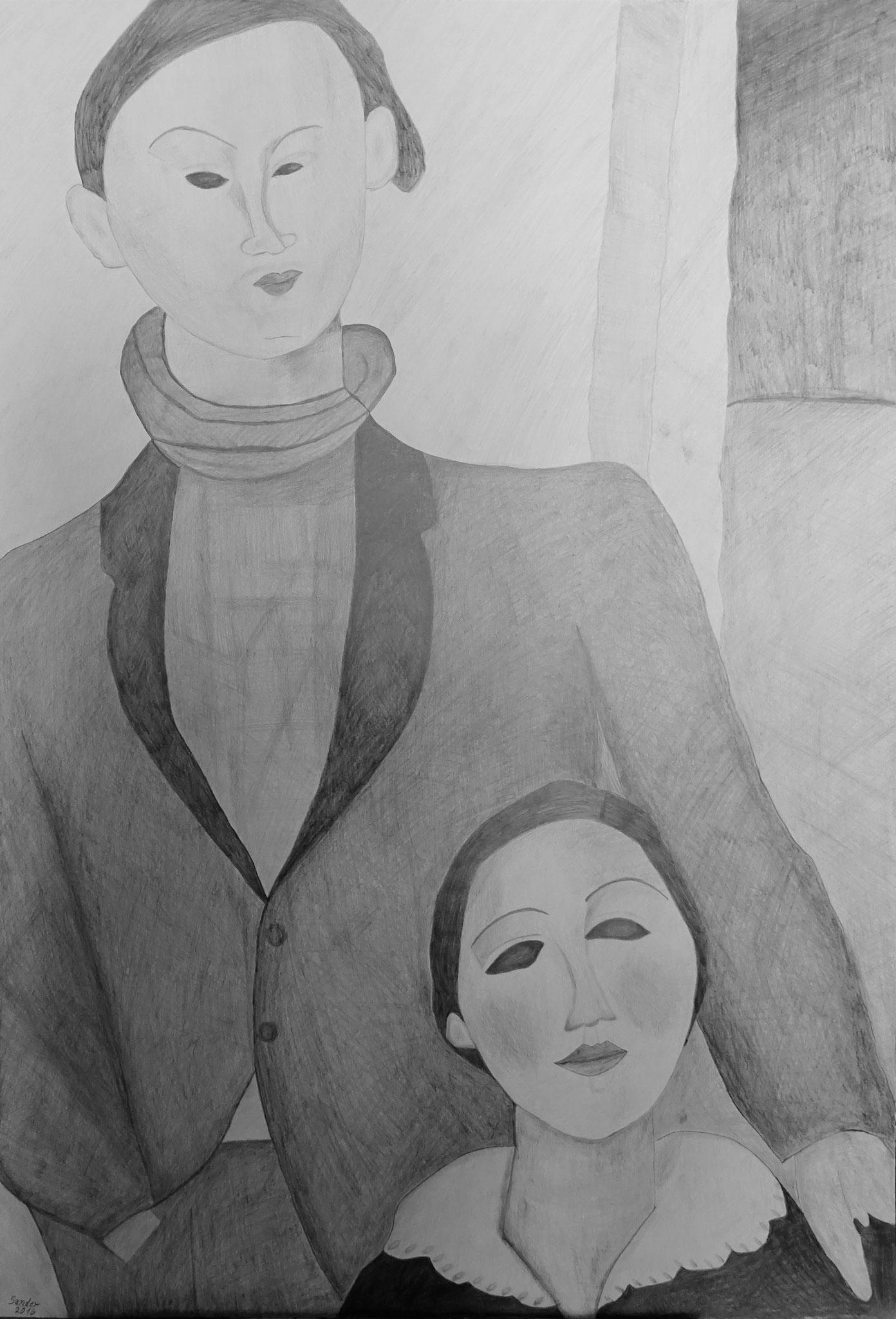 nach Modigliani, 100 x 70 cm, Bleistiftzeichnung auf Papier, signiert und datiert 2016