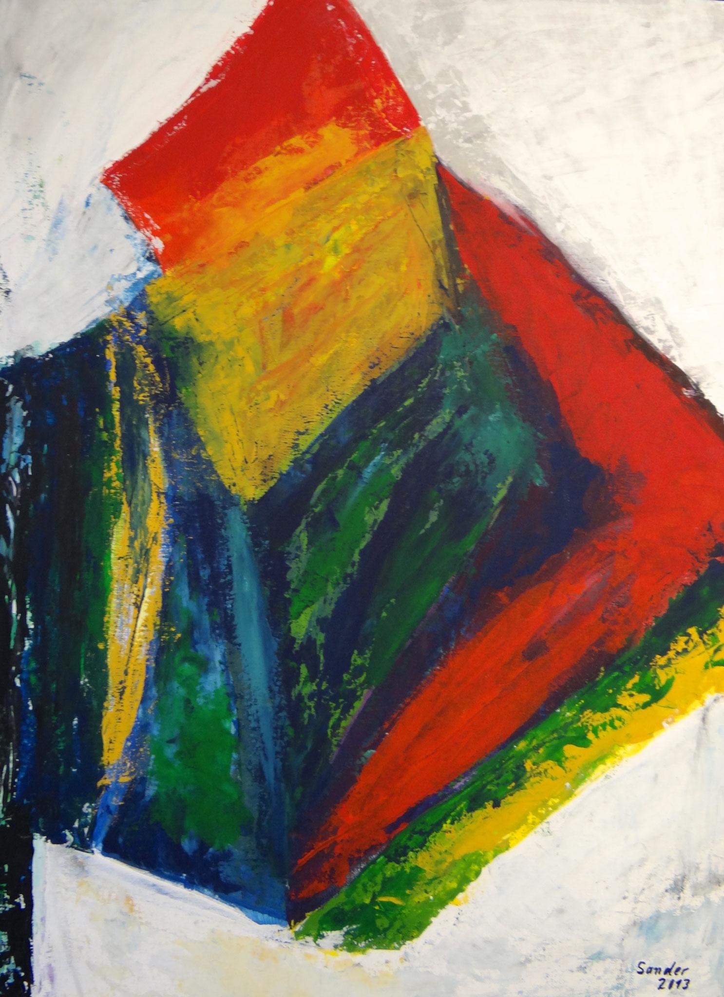 Farbenspiel 3, 70 x 50 cm, Acrylfarben auf Malkarton, signiert und datiert 2013