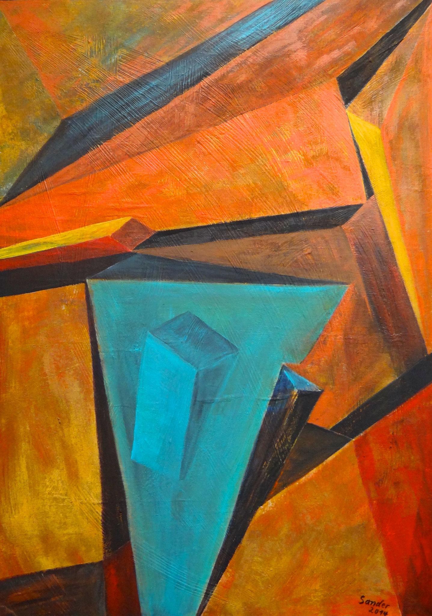 rostige Formen 1, 70 x 50 cm, Acrylfarben auf Malkarton, signiert und datiert 2014